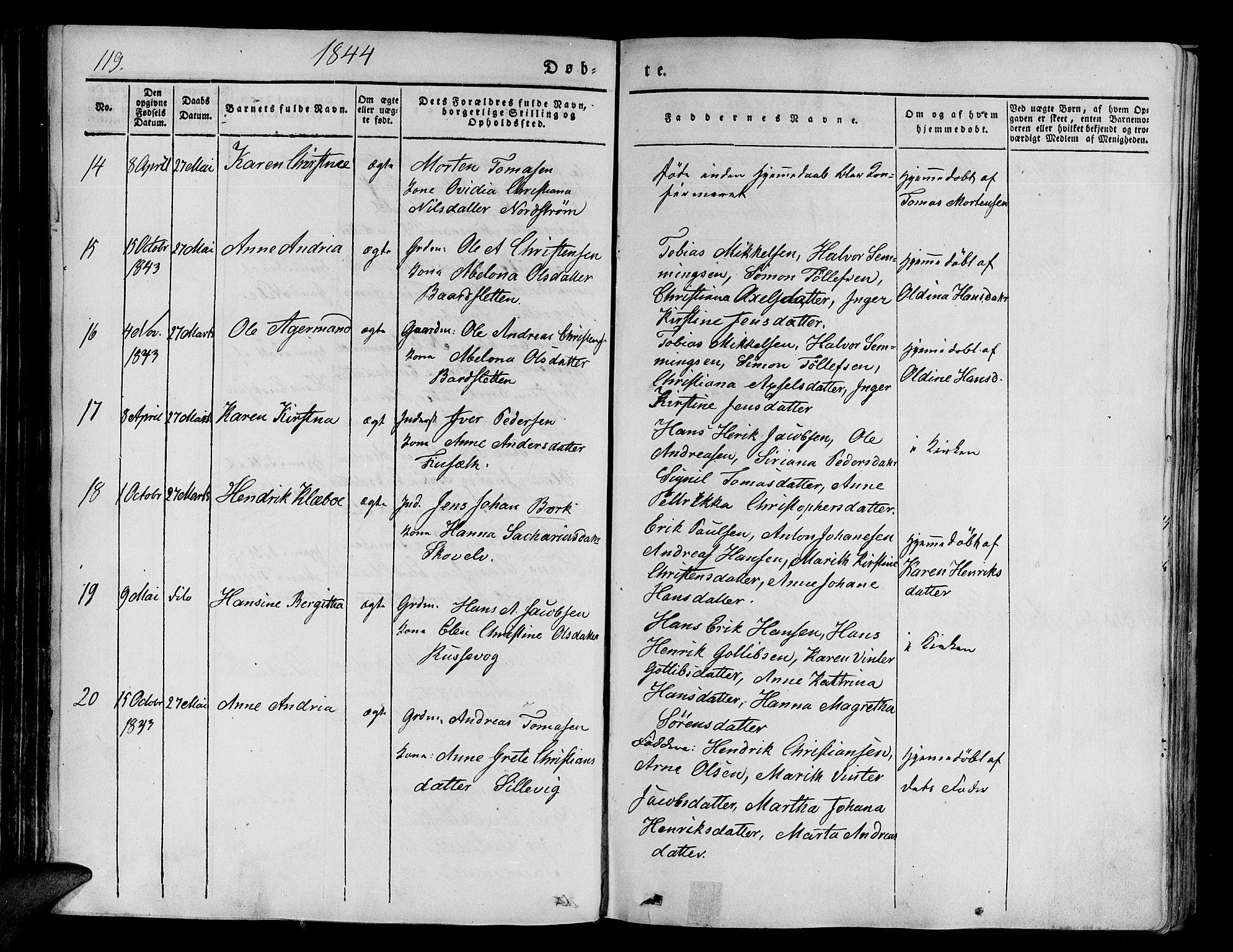 SATØ, Tranøy sokneprestkontor, I/Ia/Iaa/L0005kirke: Ministerialbok nr. 5, 1829-1844, s. 119
