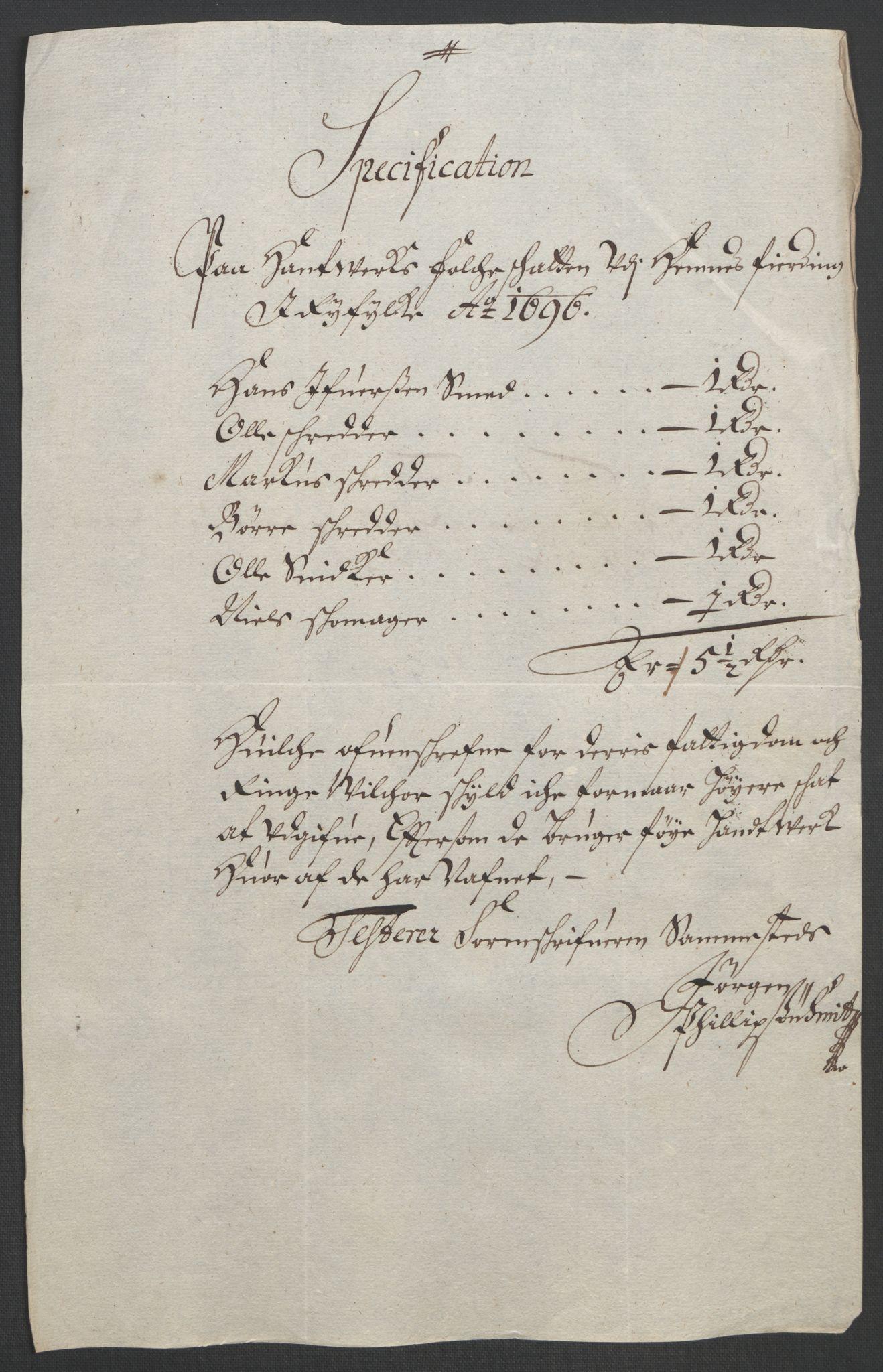 RA, Rentekammeret inntil 1814, Reviderte regnskaper, Fogderegnskap, R47/L2857: Fogderegnskap Ryfylke, 1694-1696, s. 269