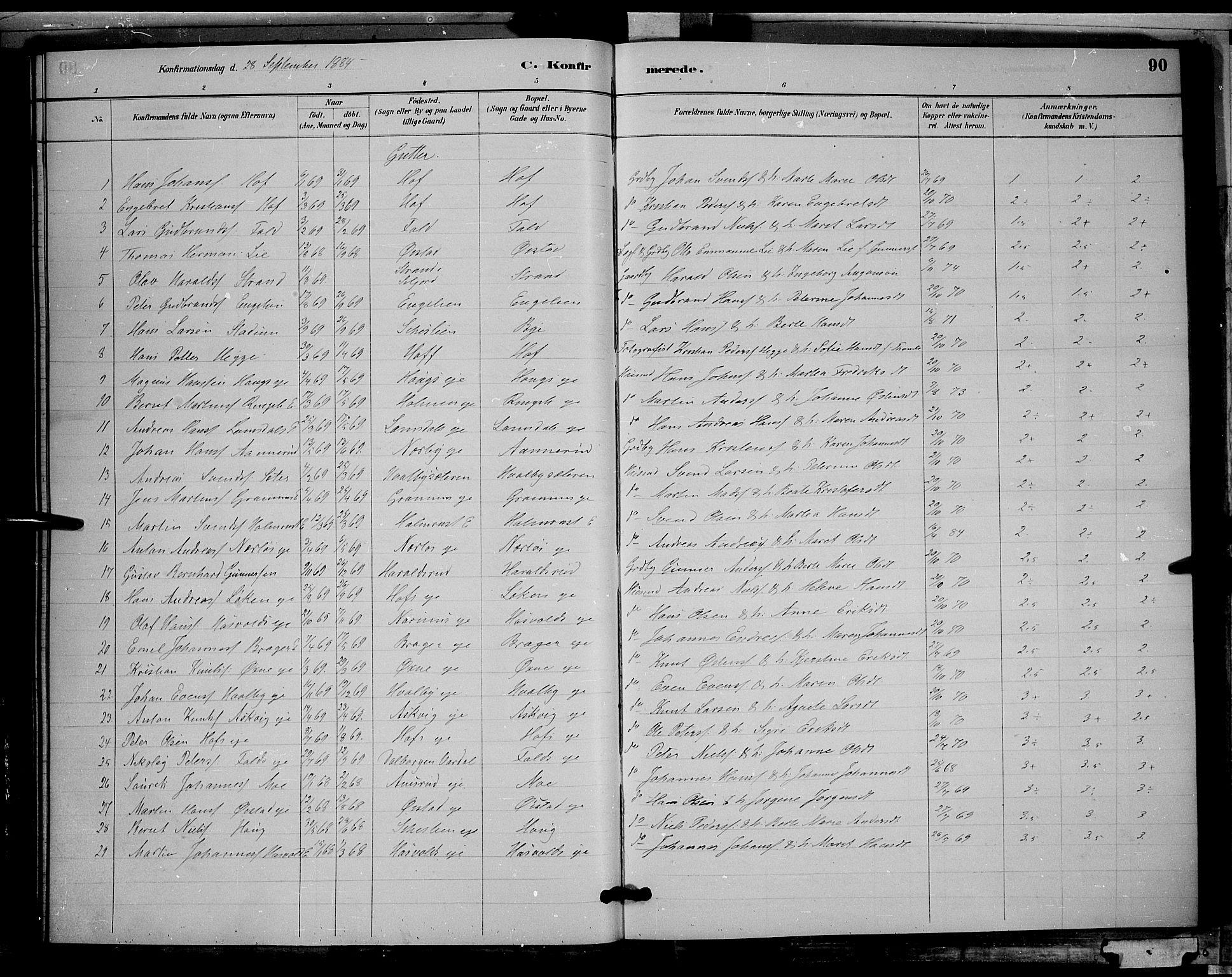 SAH, Søndre Land prestekontor, L/L0002: Klokkerbok nr. 2, 1884-1900, s. 90