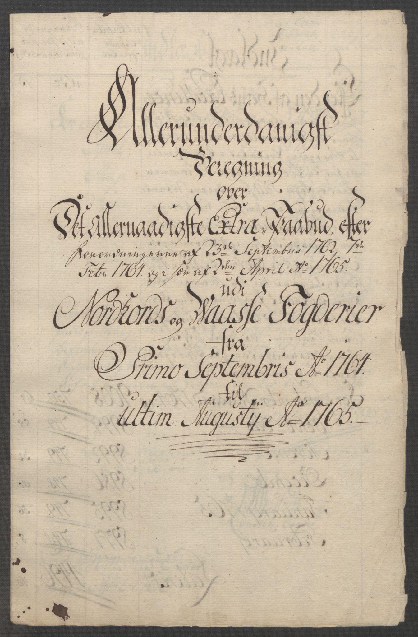 RA, Rentekammeret inntil 1814, Reviderte regnskaper, Fogderegnskap, R51/L3303: Ekstraskatten Nordhordland og Voss, 1762-1772, s. 106