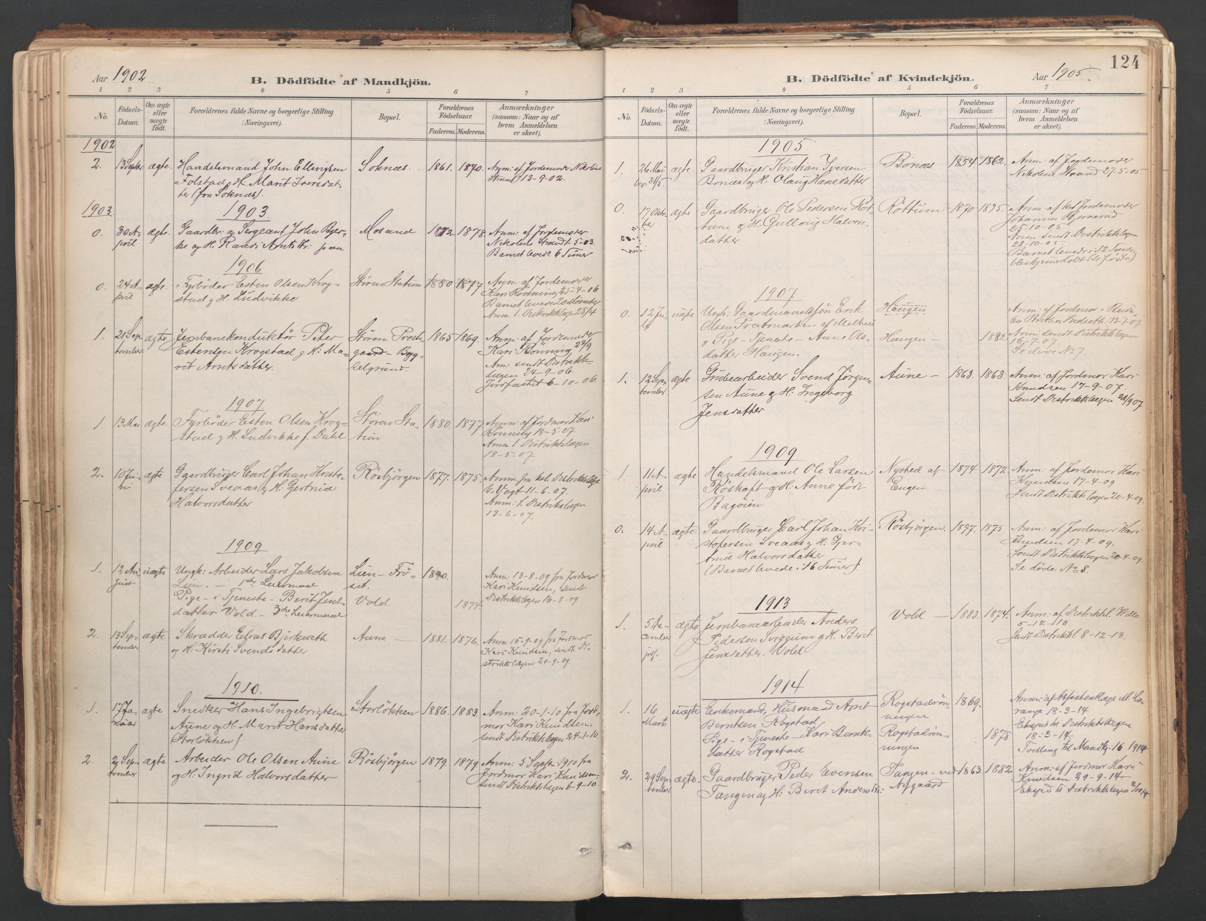 SAT, Ministerialprotokoller, klokkerbøker og fødselsregistre - Sør-Trøndelag, 687/L1004: Ministerialbok nr. 687A10, 1891-1923, s. 124