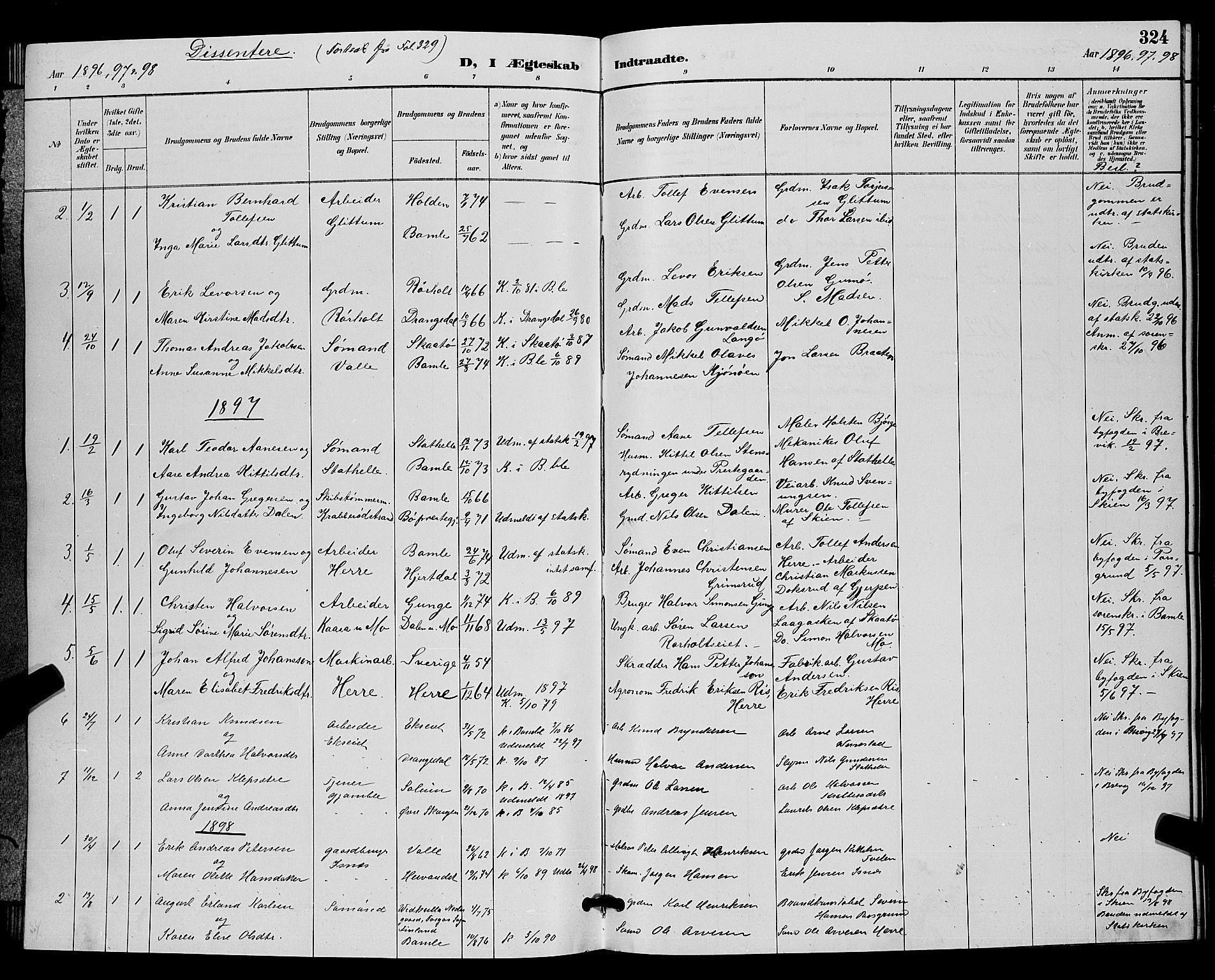 SAKO, Bamble kirkebøker, G/Ga/L0009: Klokkerbok nr. I 9, 1888-1900, s. 324
