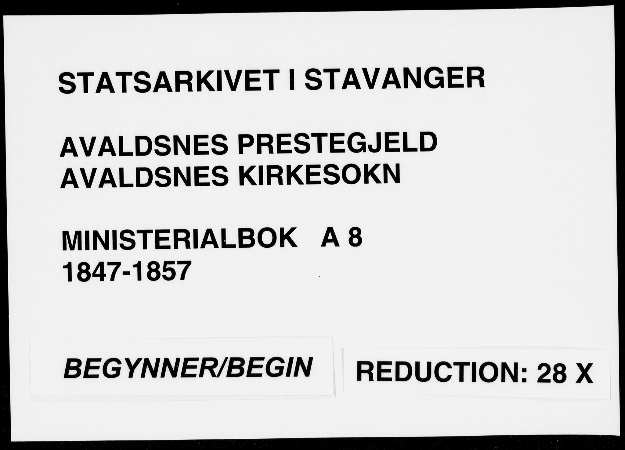 SAST, Avaldsnes sokneprestkontor, H/Ha/Haa/L0008: Ministerialbok nr. A 8, 1847-1857