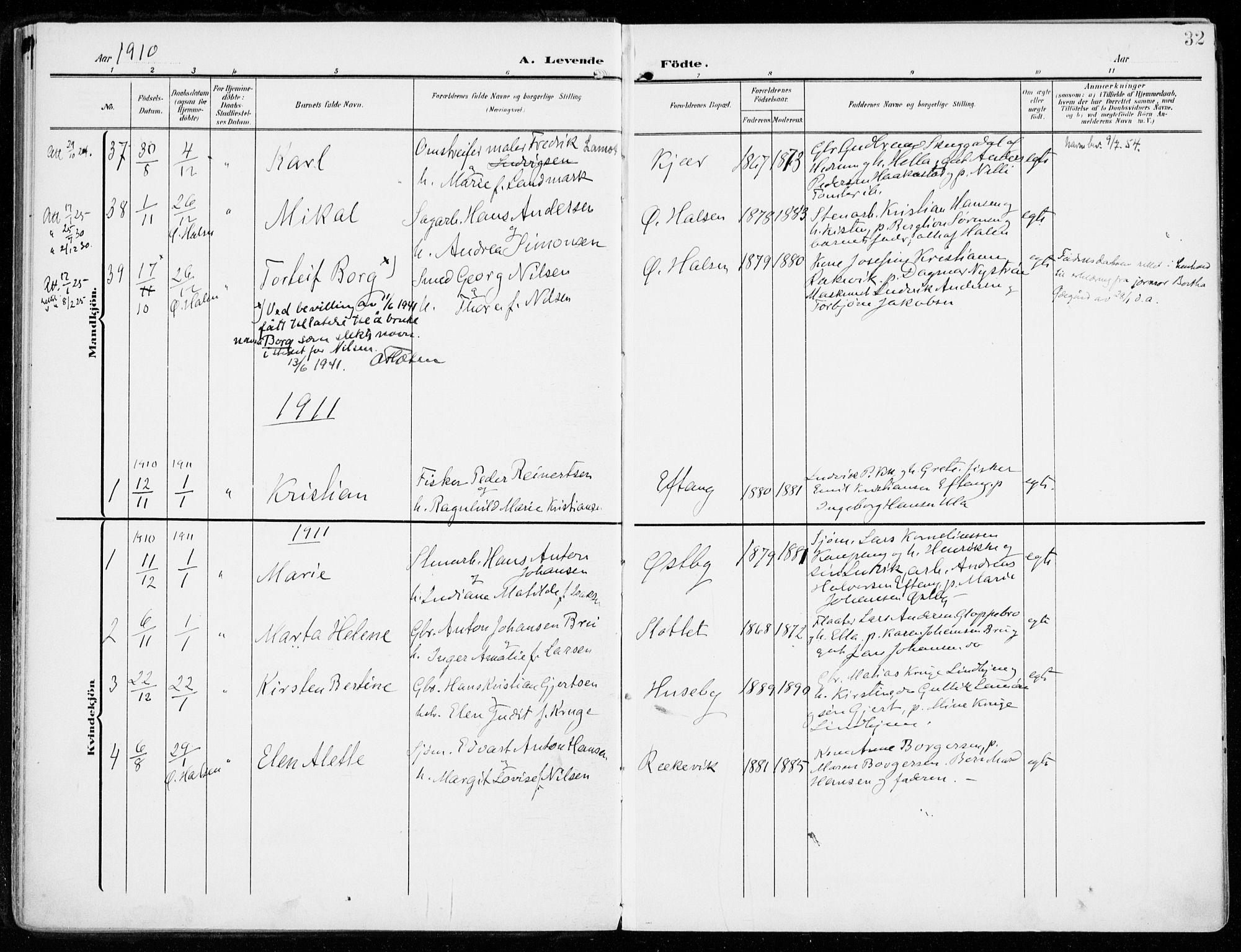 SAKO, Tjølling kirkebøker, F/Fa/L0010: Ministerialbok nr. 10, 1906-1923, s. 32