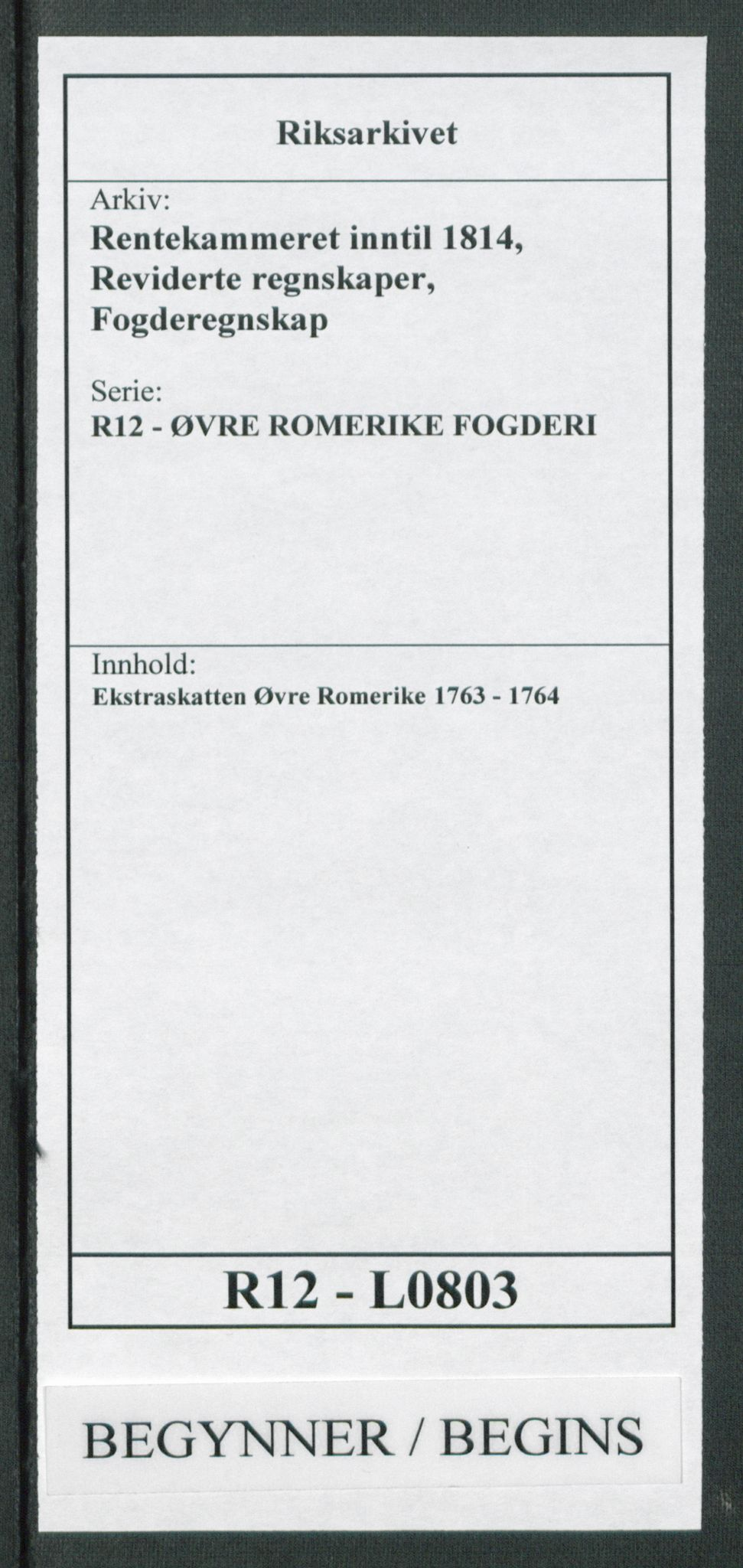 RA, Rentekammeret inntil 1814, Reviderte regnskaper, Fogderegnskap, R12/L0803: Ekstraskatten Øvre Romerike, 1763-1764, s. 1