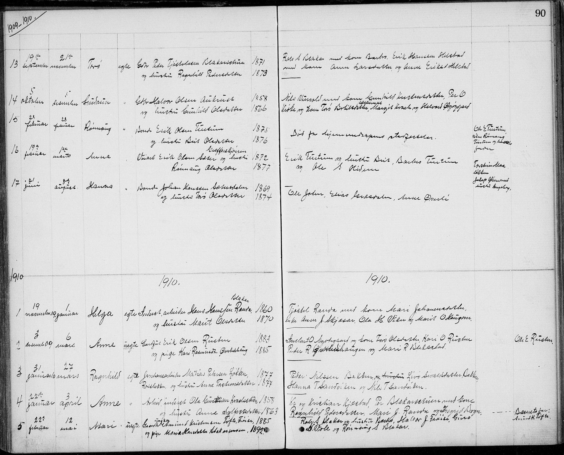 SAH, Lom prestekontor, L/L0013: Klokkerbok nr. 13, 1874-1938, s. 90