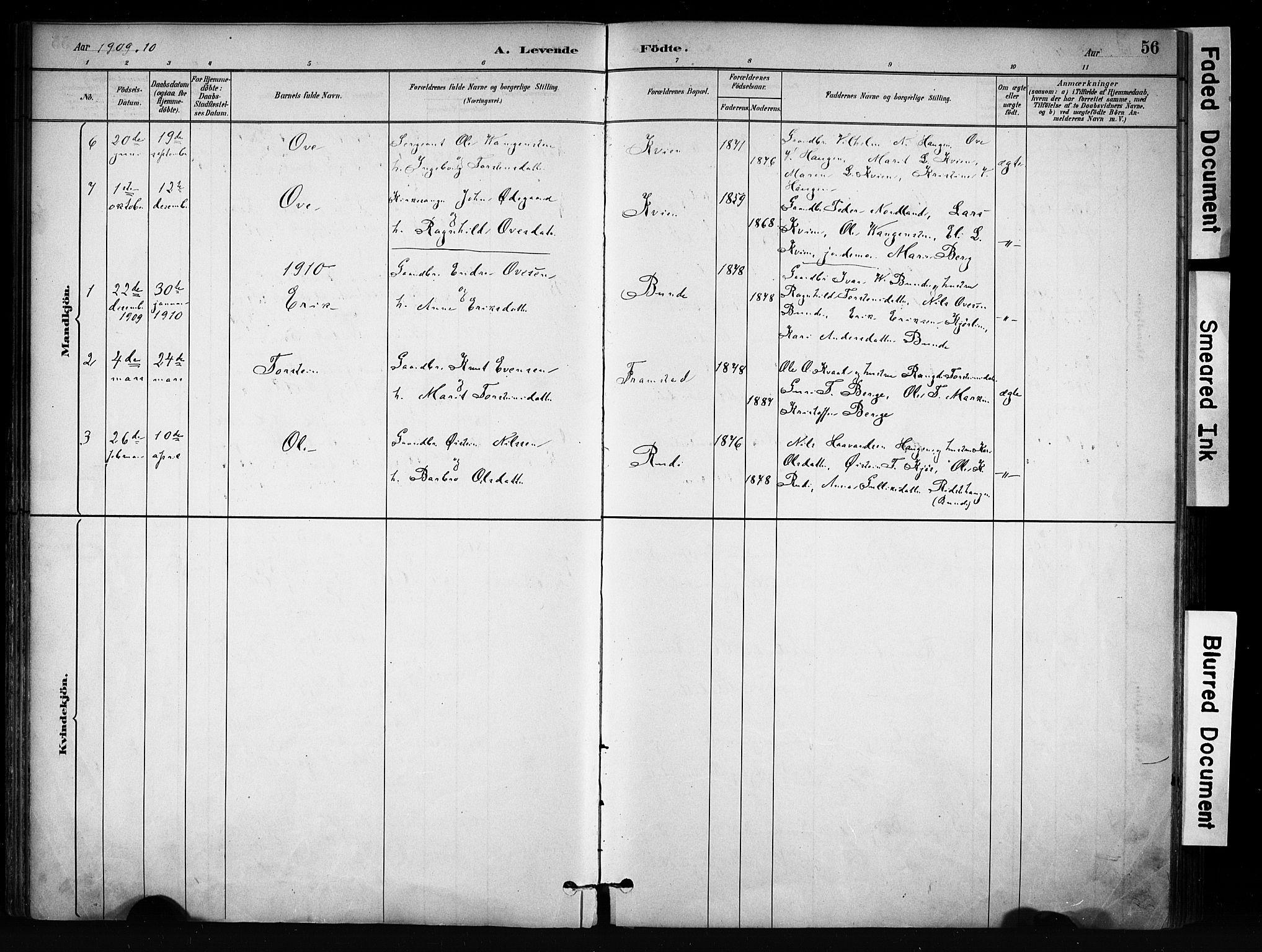 SAH, Vang prestekontor, Valdres, Ministerialbok nr. 9, 1882-1914, s. 56