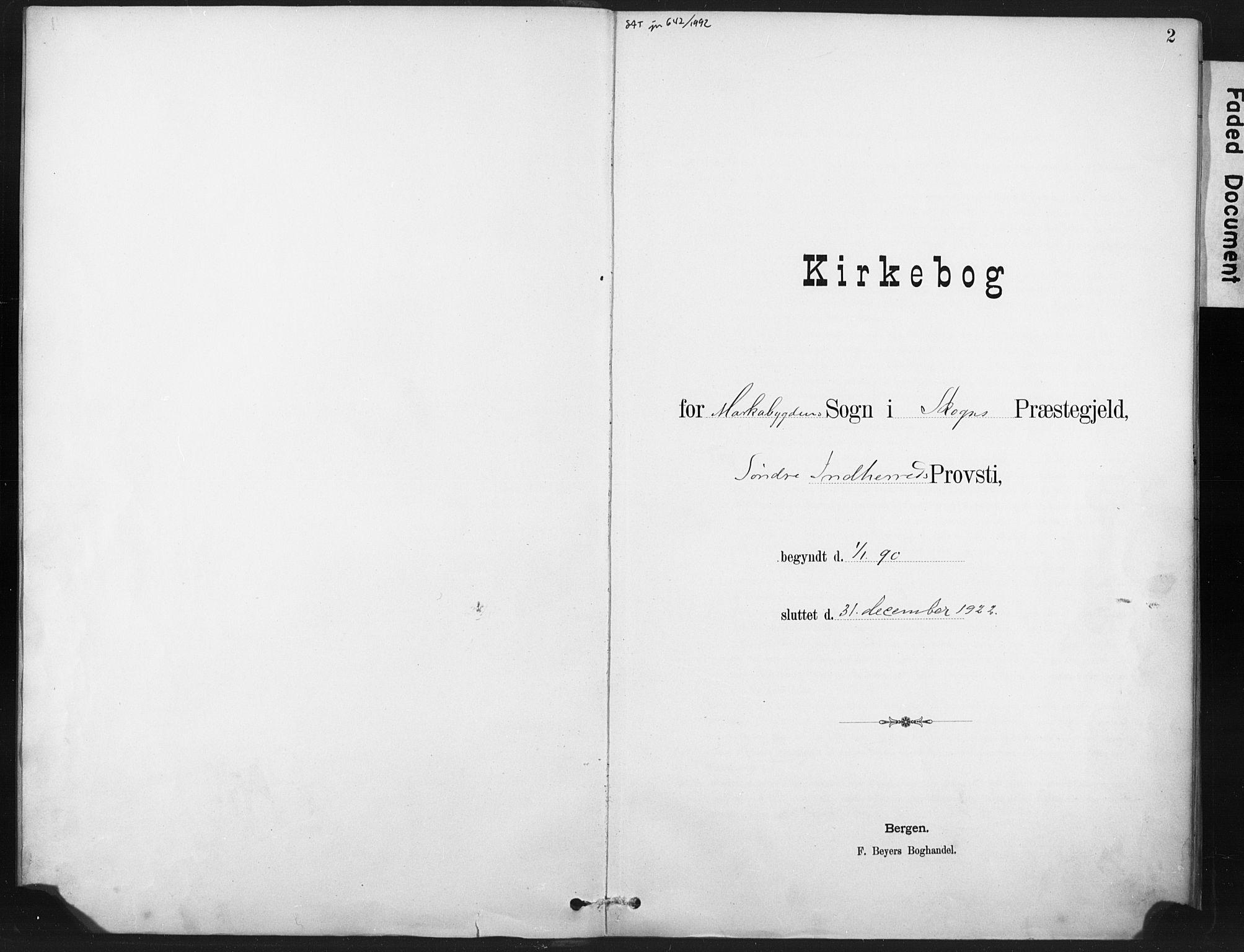 SAT, Ministerialprotokoller, klokkerbøker og fødselsregistre - Nord-Trøndelag, 718/L0175: Ministerialbok nr. 718A01, 1890-1923, s. 2