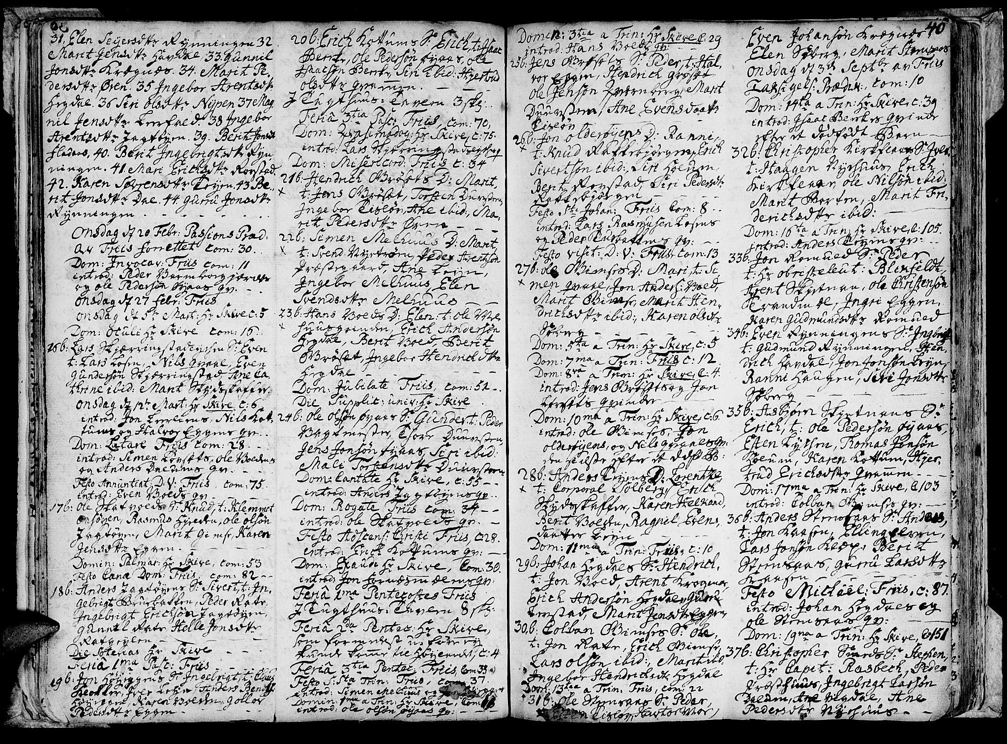 SAT, Ministerialprotokoller, klokkerbøker og fødselsregistre - Sør-Trøndelag, 691/L1057: Ministerialbok nr. 691A01 /1, 1740-1767, s. 40