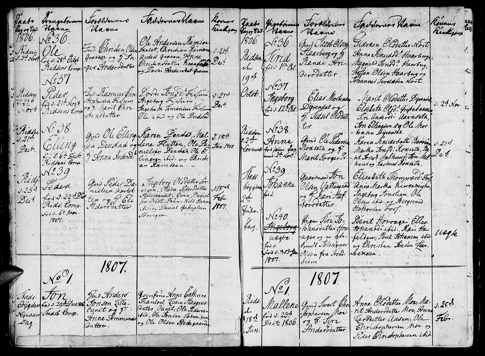 SAT, Ministerialprotokoller, klokkerbøker og fødselsregistre - Sør-Trøndelag, 646/L0607: Ministerialbok nr. 646A05, 1806-1815, s. 14-15