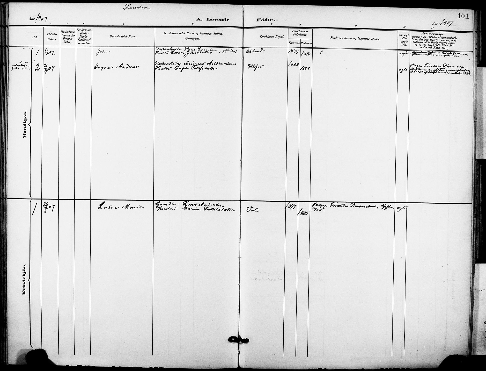 SAKO, Holla kirkebøker, F/Fa/L0010: Ministerialbok nr. 10, 1897-1907, s. 101