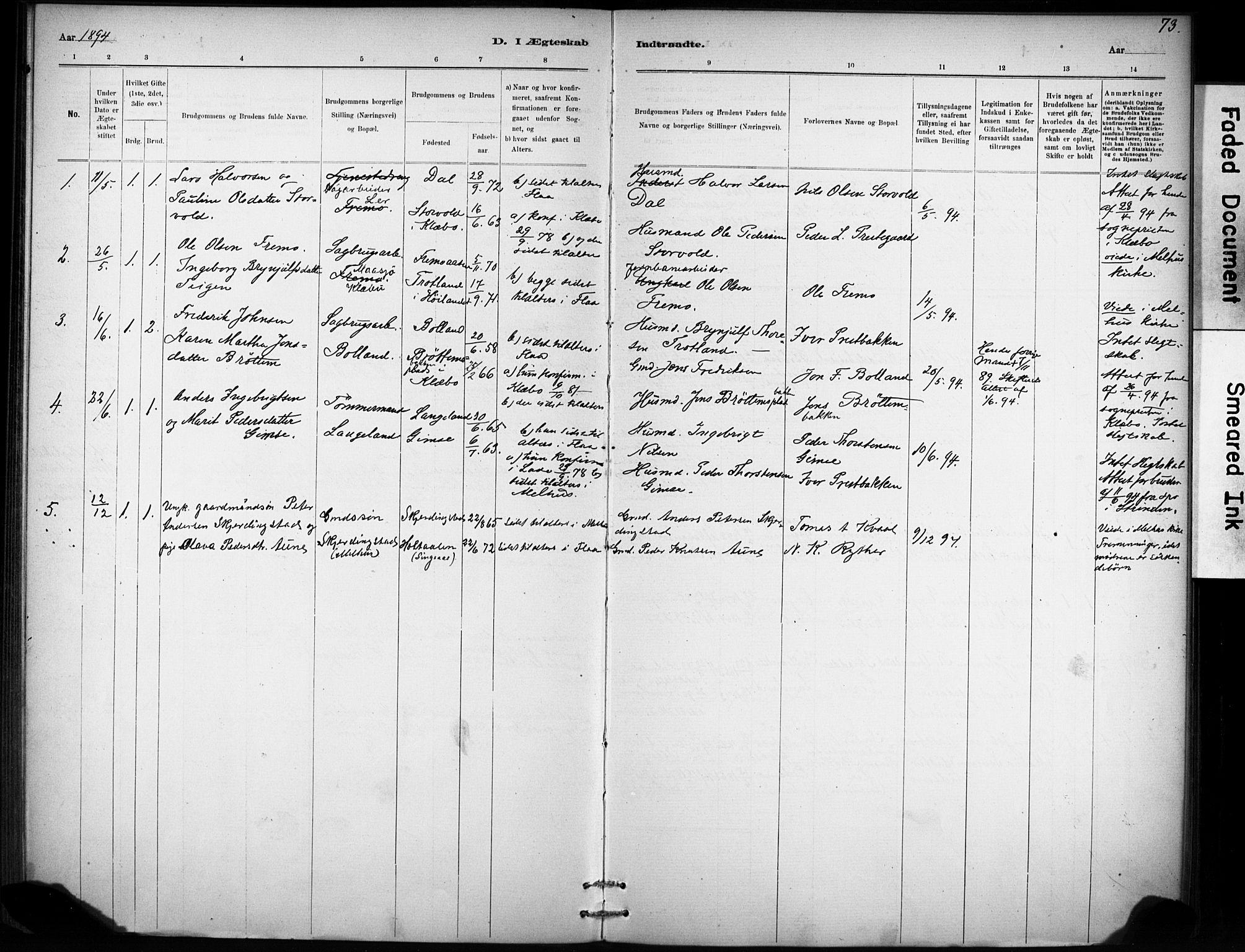 SAT, Ministerialprotokoller, klokkerbøker og fødselsregistre - Sør-Trøndelag, 693/L1119: Ministerialbok nr. 693A01, 1887-1905, s. 73