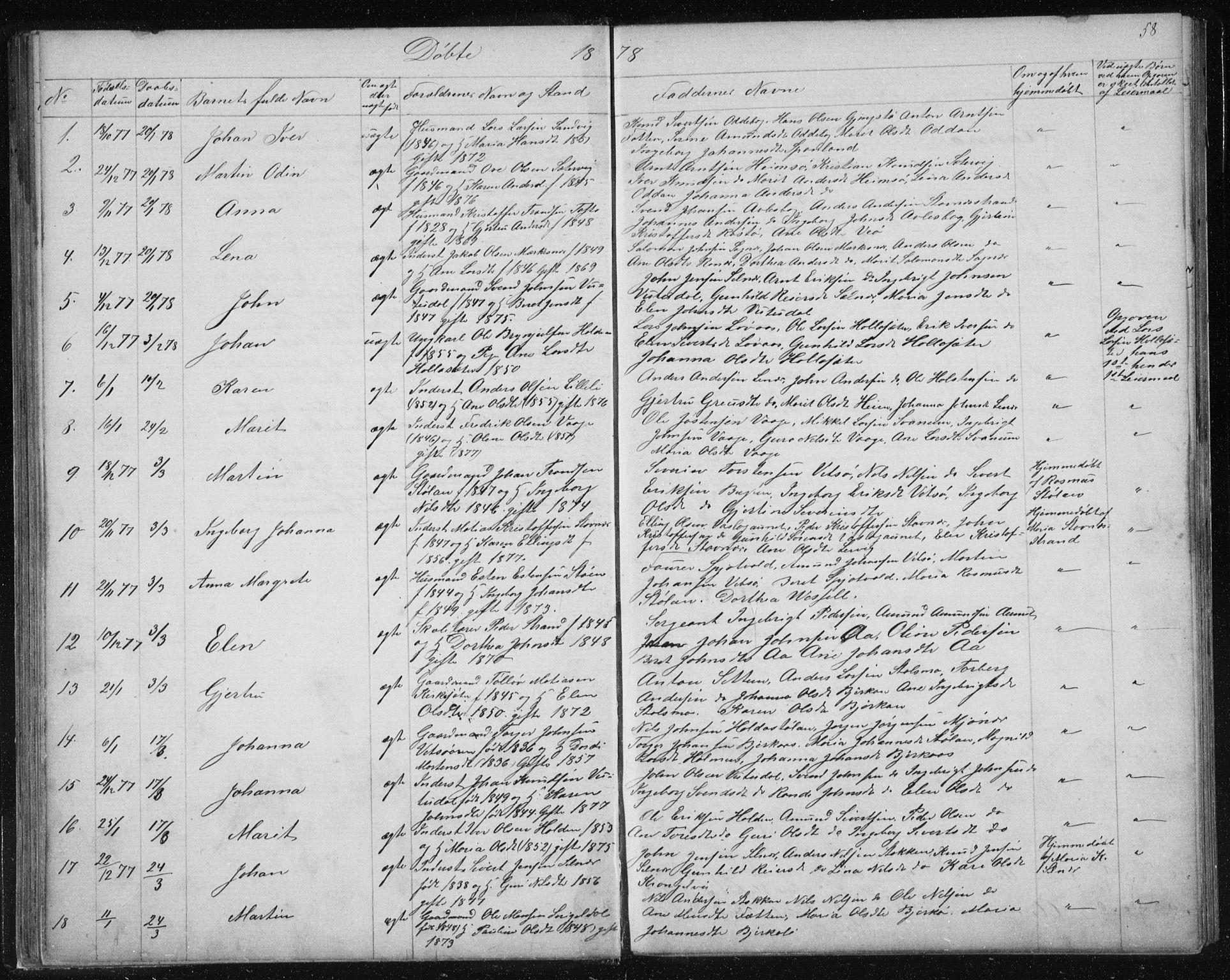 SAT, Ministerialprotokoller, klokkerbøker og fødselsregistre - Sør-Trøndelag, 630/L0503: Klokkerbok nr. 630C01, 1869-1878, s. 58