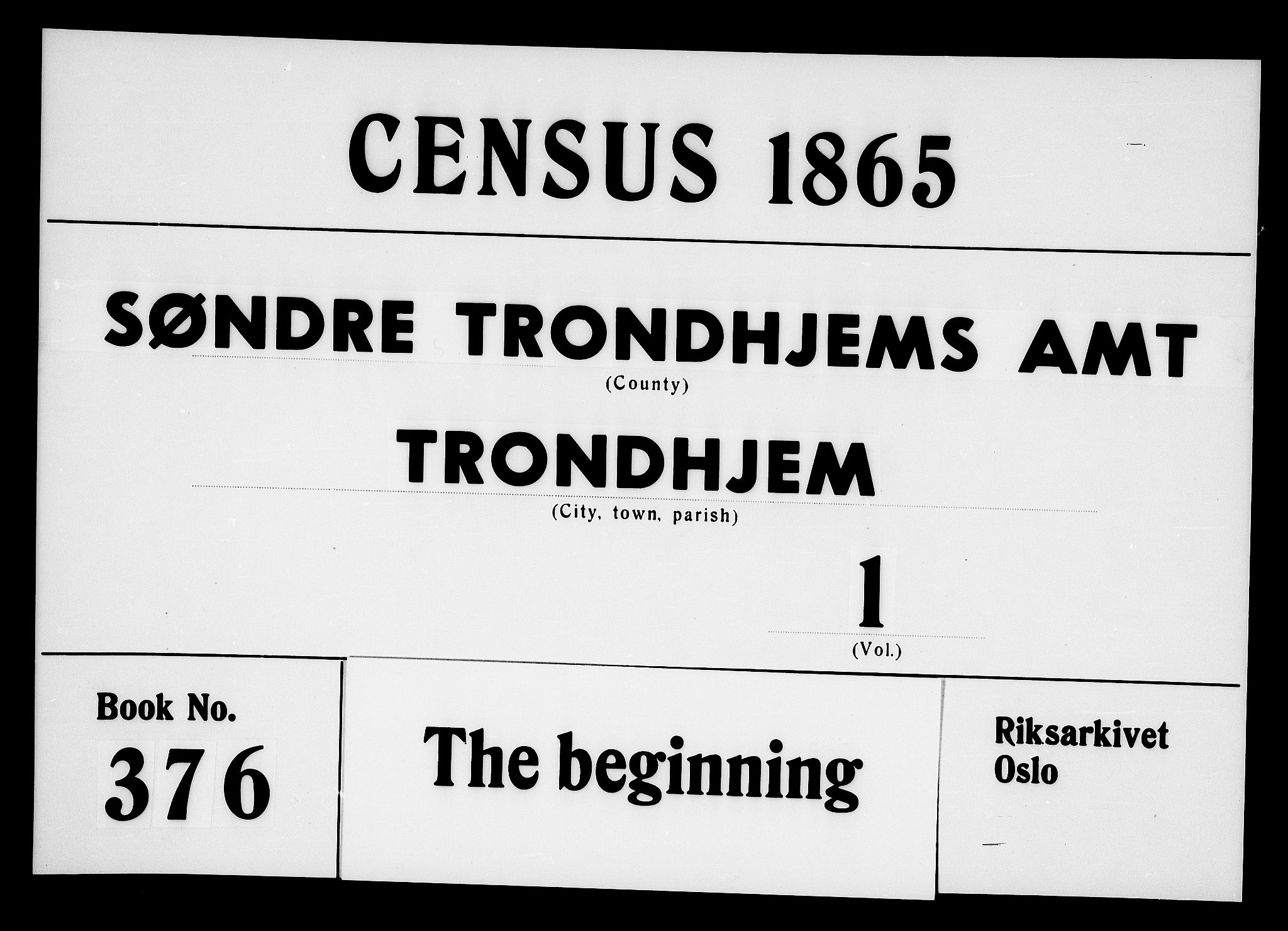 RA, Folketelling 1865 for 1601 Trondheim kjøpstad, 1865, s. 1