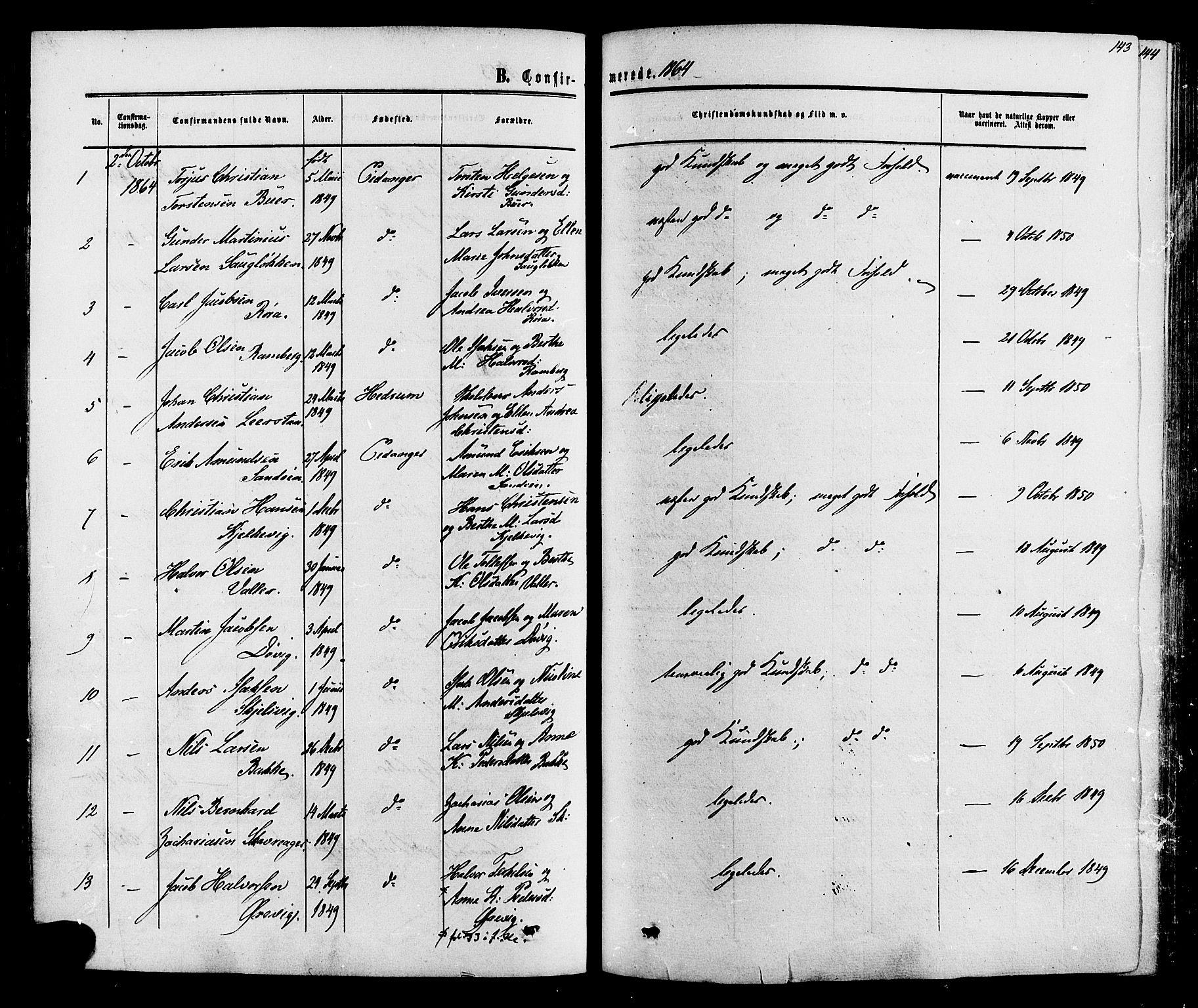 SAKO, Eidanger kirkebøker, F/Fa/L0010: Ministerialbok nr. 10, 1859-1874, s. 143