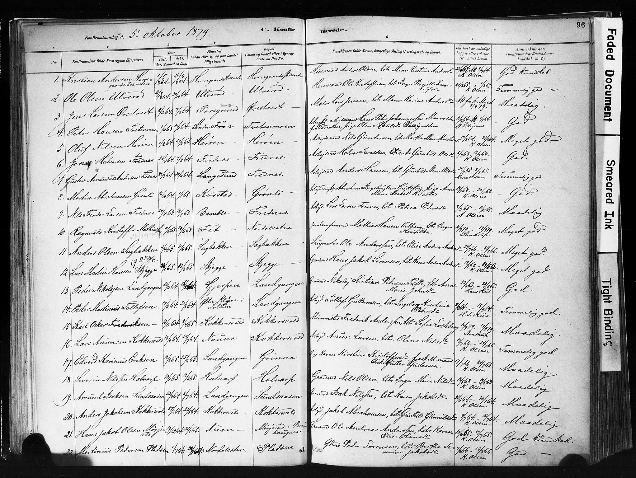 SAKO, Eidanger kirkebøker, F/Fa/L0012: Ministerialbok nr. 12, 1879-1900, s. 96