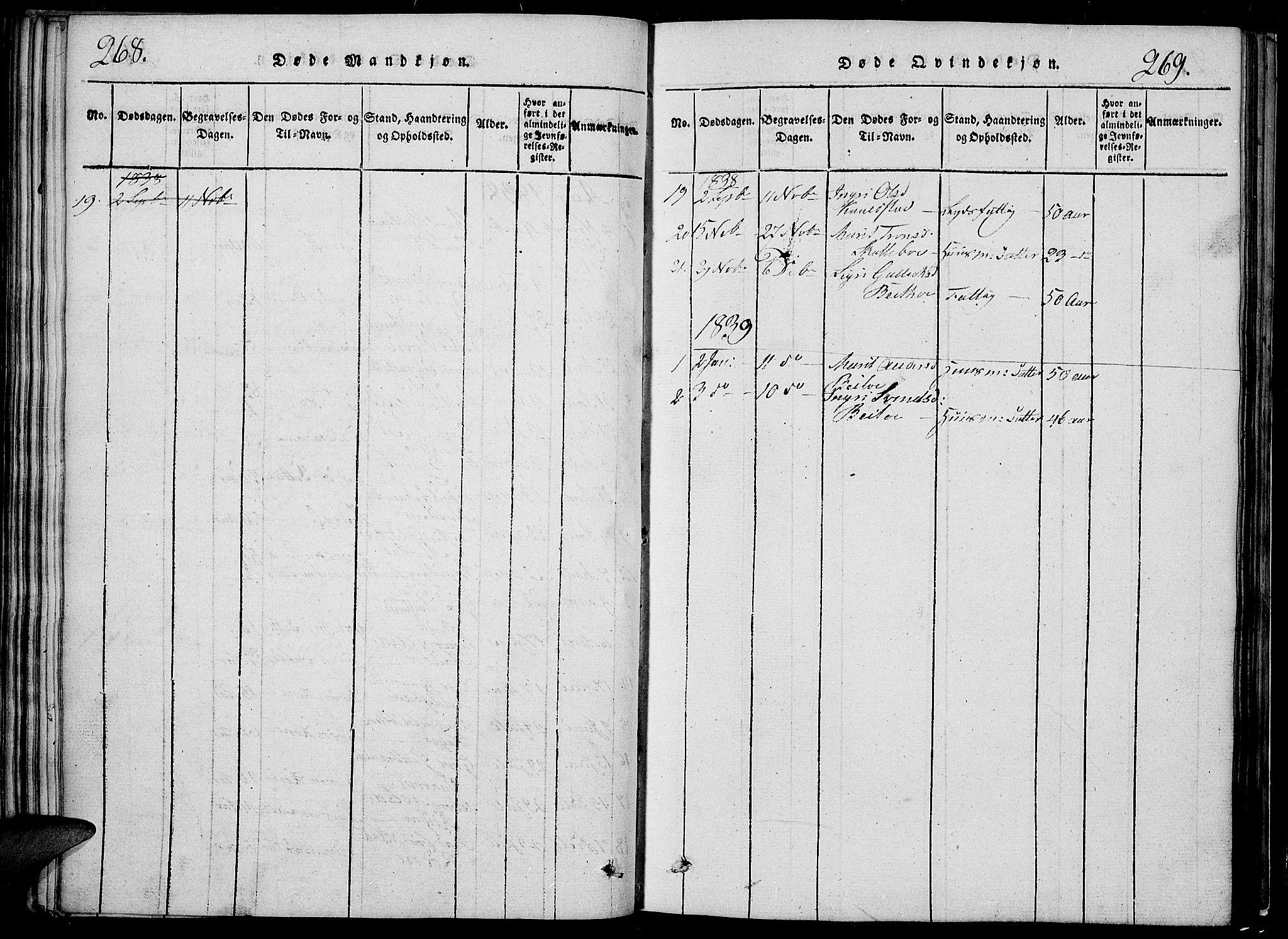 SAH, Slidre prestekontor, Klokkerbok nr. 2, 1814-1839, s. 268-269