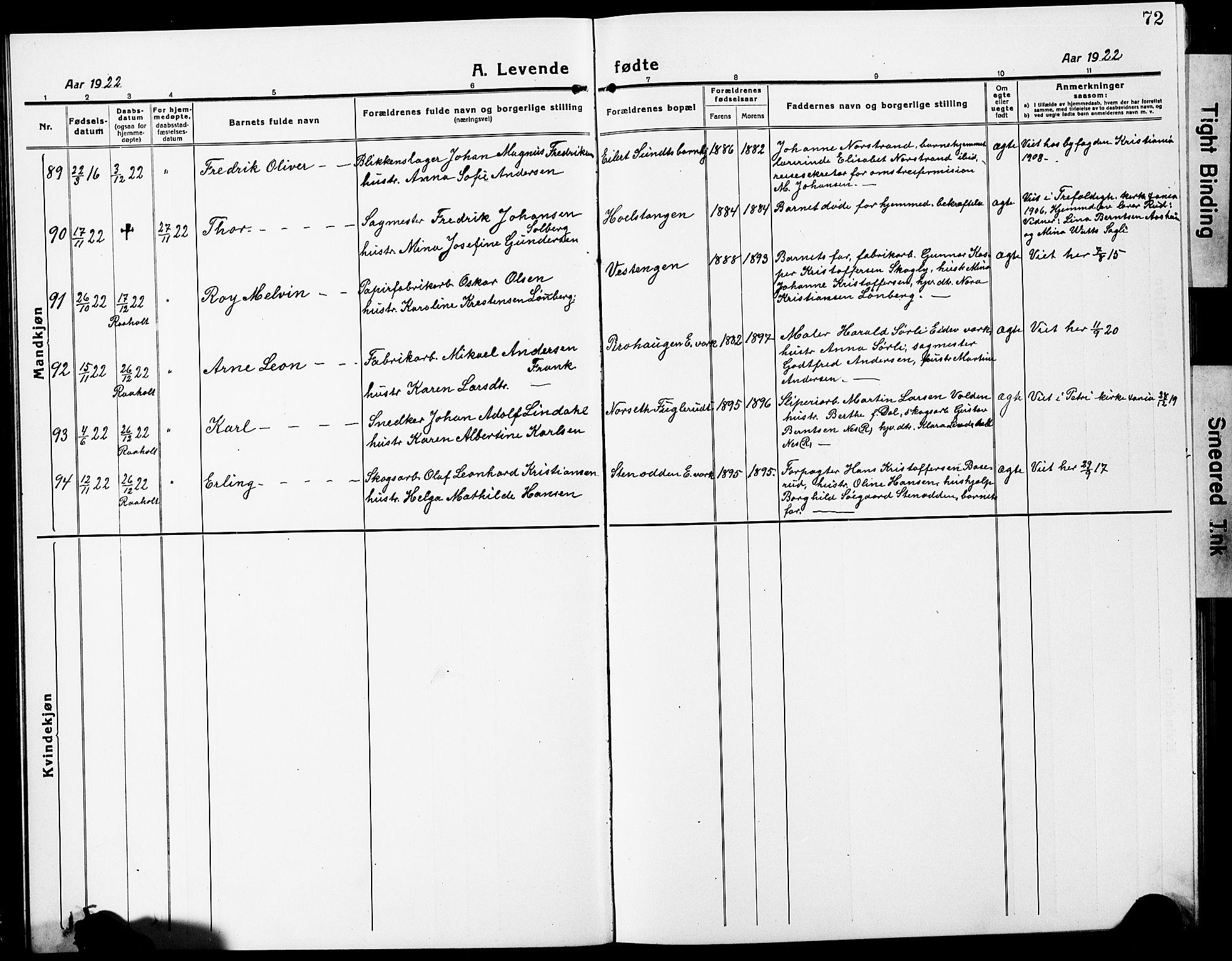 SAO, Eidsvoll prestekontor Kirkebøker, G/Ga/L0010: Klokkerbok nr. I 10, 1919-1929, s. 72