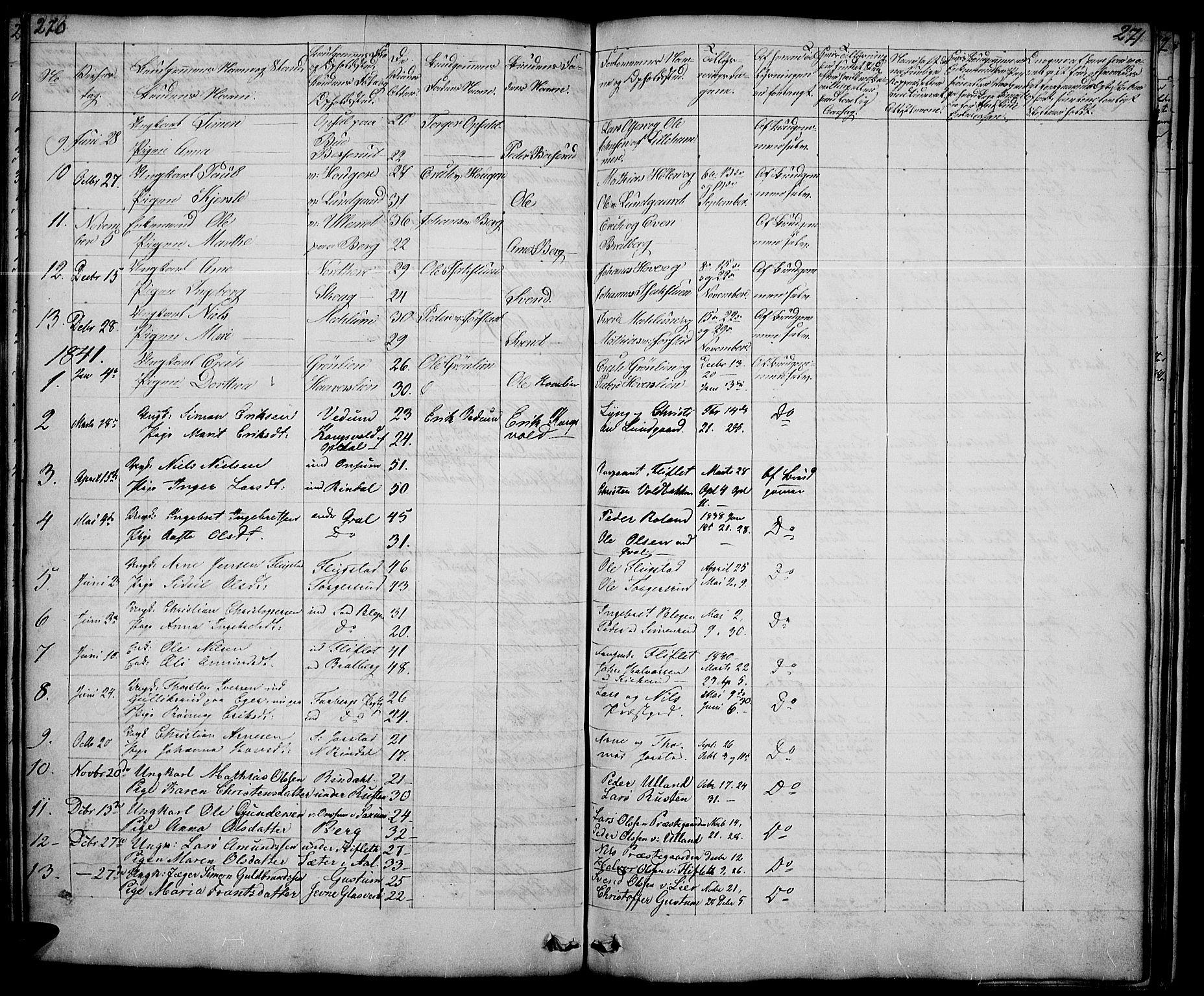 SAH, Fåberg prestekontor, Klokkerbok nr. 5, 1837-1864, s. 270-271