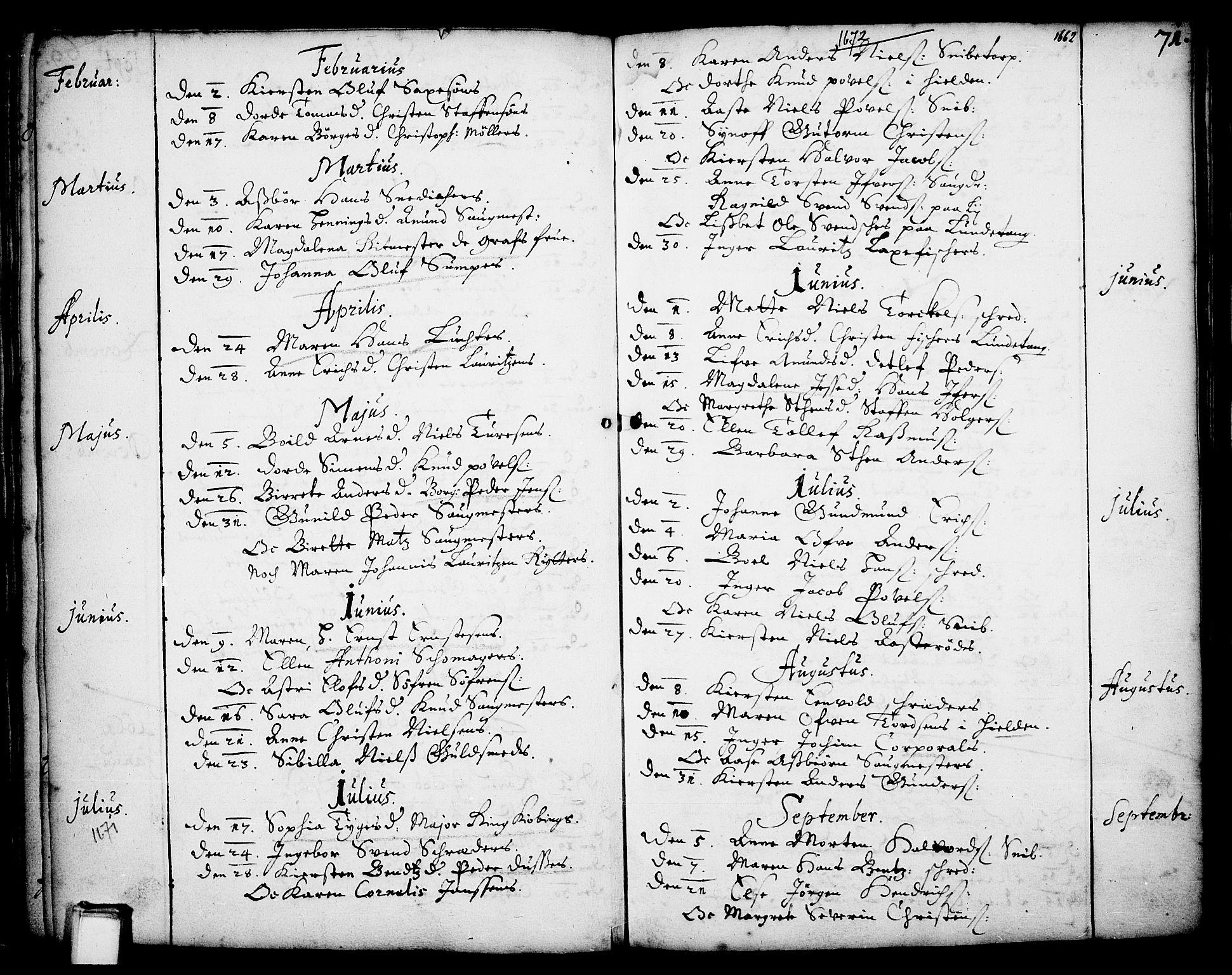 SAKO, Skien kirkebøker, F/Fa/L0001: Ministerialbok nr. 1, 1659-1679, s. 71