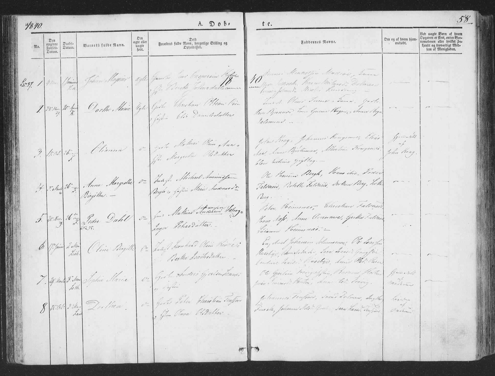 SAT, Ministerialprotokoller, klokkerbøker og fødselsregistre - Nord-Trøndelag, 780/L0639: Ministerialbok nr. 780A04, 1830-1844, s. 58