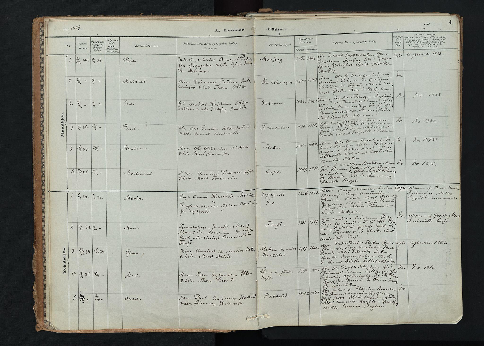 SAH, Nord-Fron prestekontor, Ministerialbok nr. 5, 1884-1914, s. 4