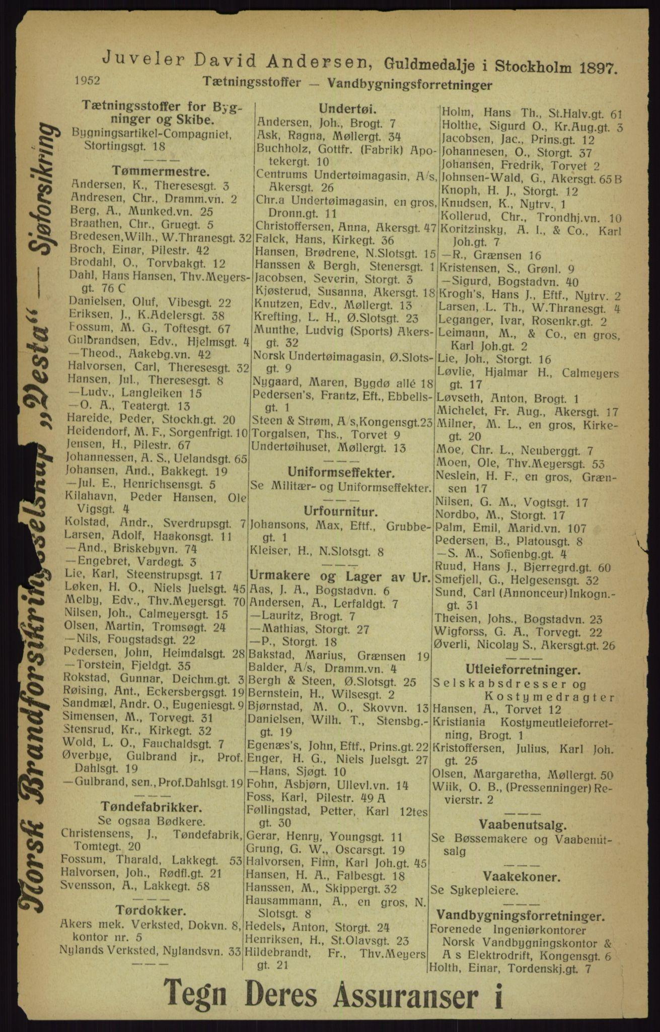 RA, Kristiania adressebok (publikasjon)*, 1916, s. 1952