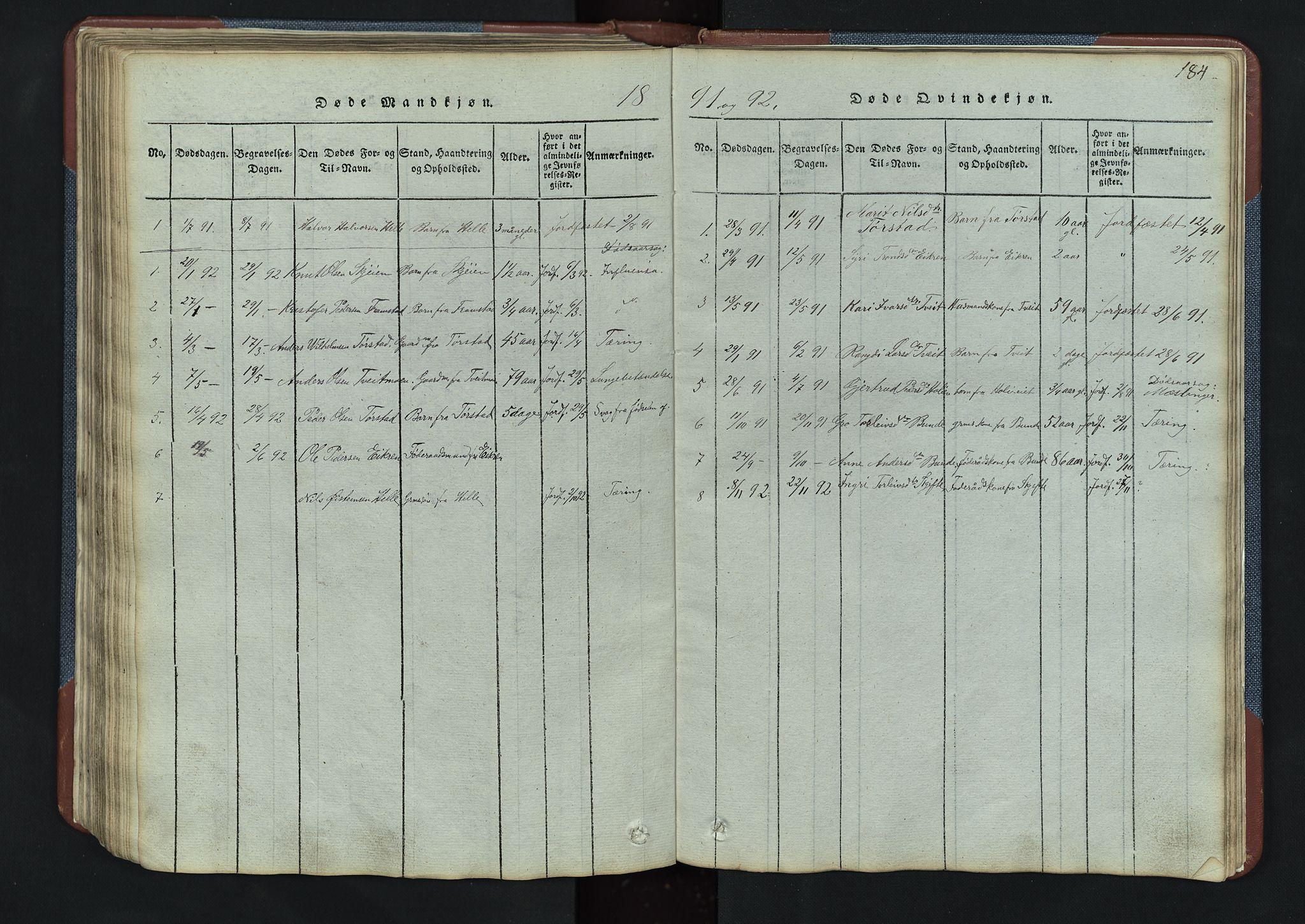 SAH, Vang prestekontor, Valdres, Klokkerbok nr. 3, 1814-1892, s. 184