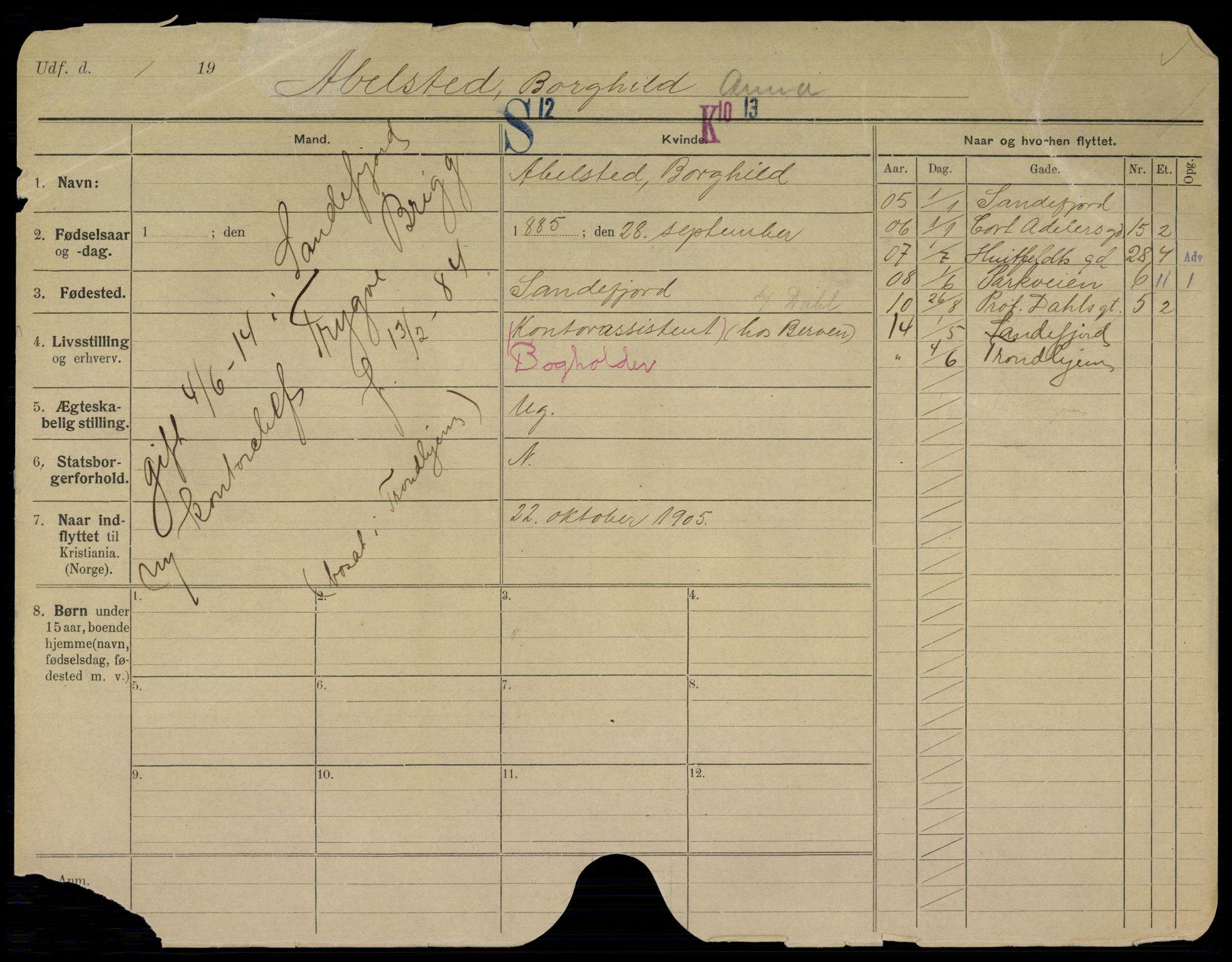 SAO, Oslo folkeregister, Registerkort, K/Kb/L0019: A - H, 1914
