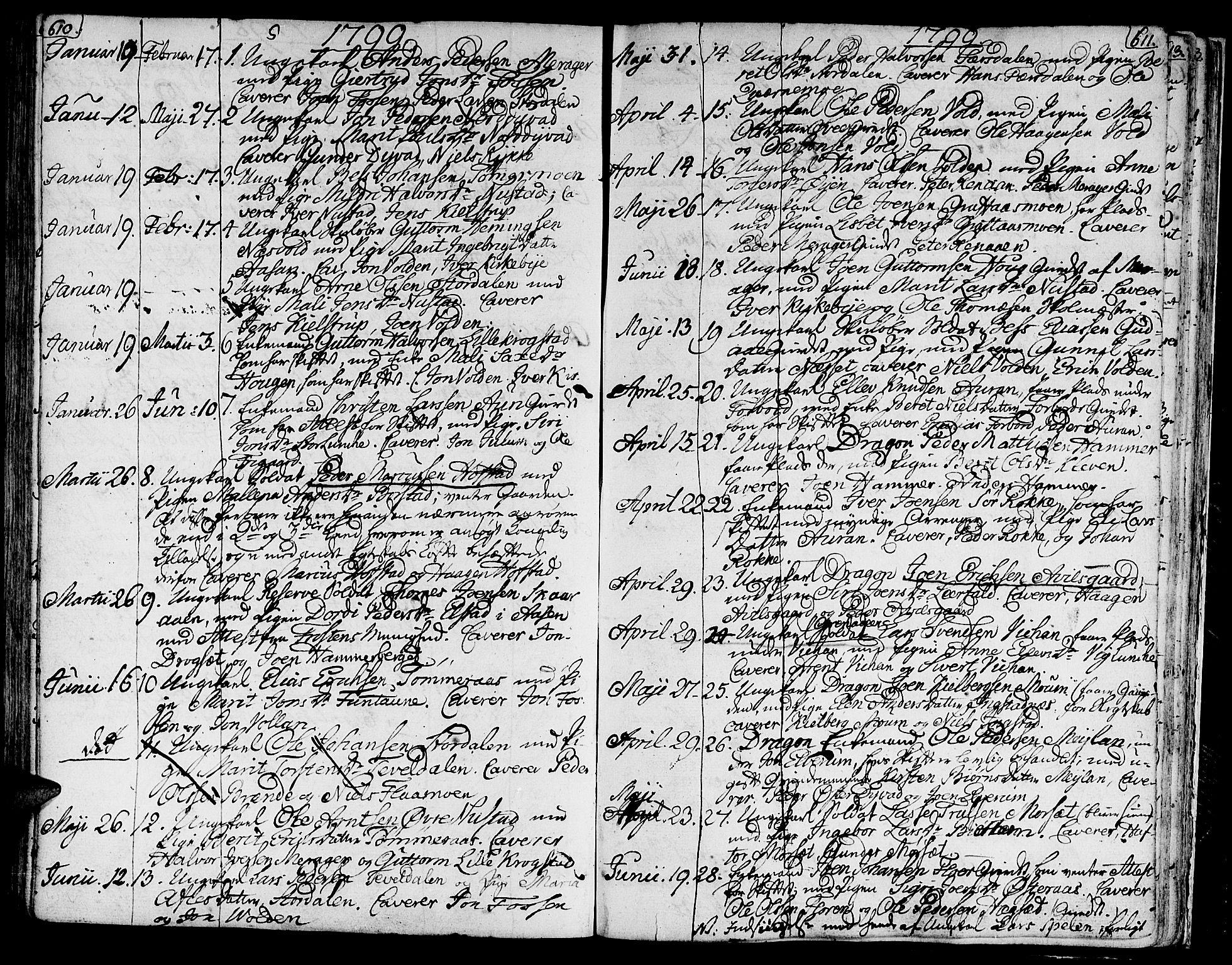 SAT, Ministerialprotokoller, klokkerbøker og fødselsregistre - Nord-Trøndelag, 709/L0060: Ministerialbok nr. 709A07, 1797-1815, s. 610-611
