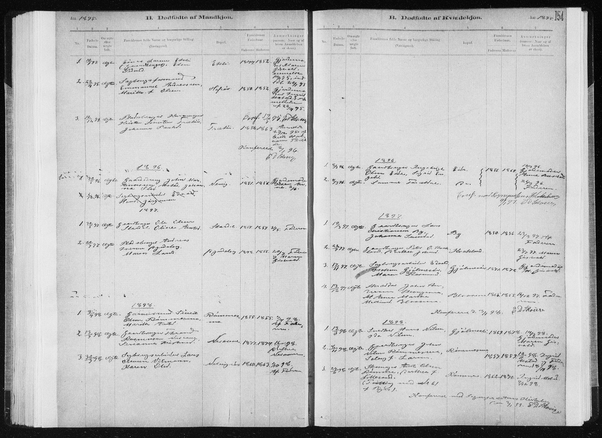 SAT, Ministerialprotokoller, klokkerbøker og fødselsregistre - Sør-Trøndelag, 668/L0818: Klokkerbok nr. 668C07, 1885-1898, s. 154