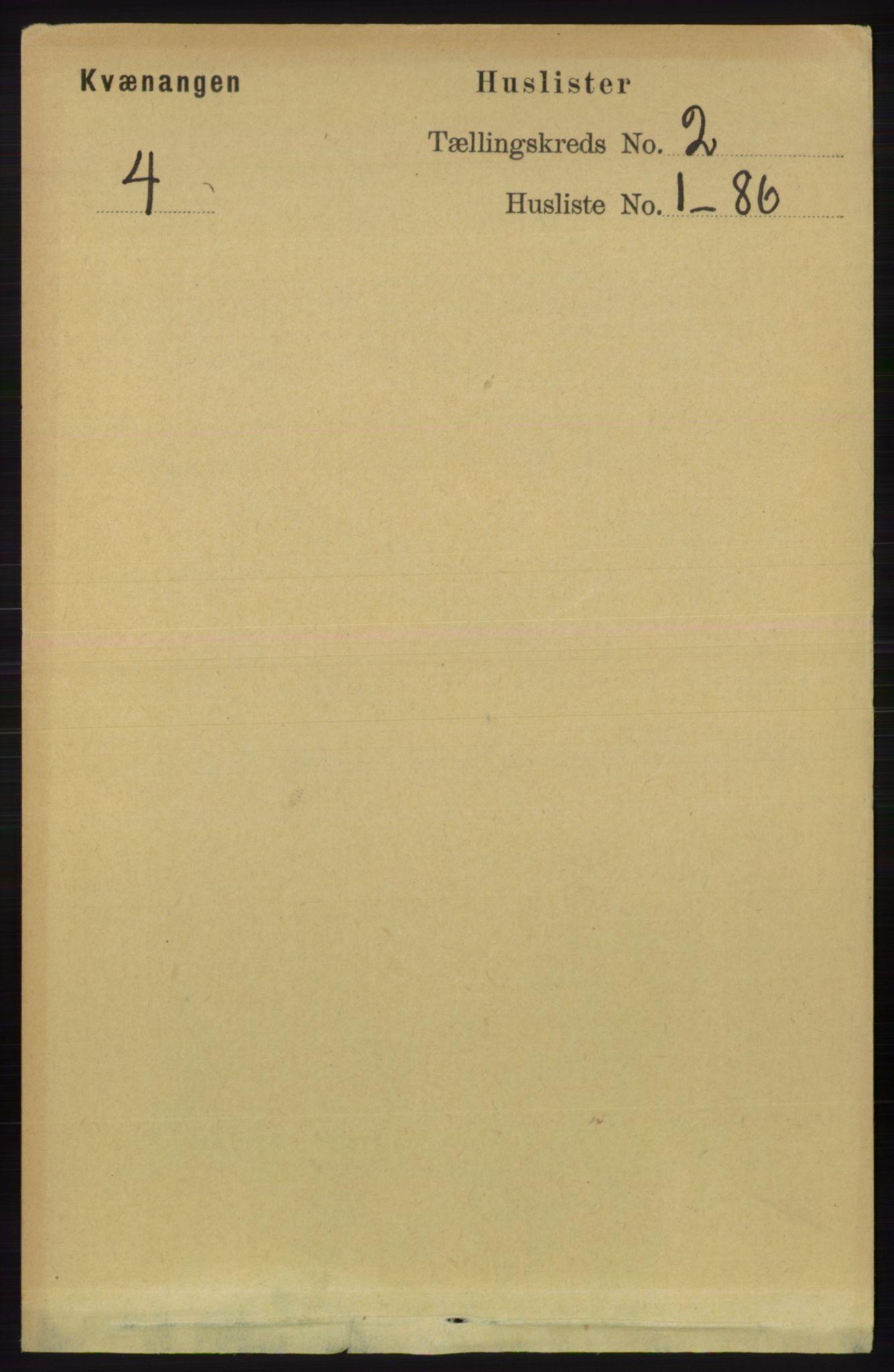 RA, Folketelling 1891 for 1943 Kvænangen herred, 1891, s. 324