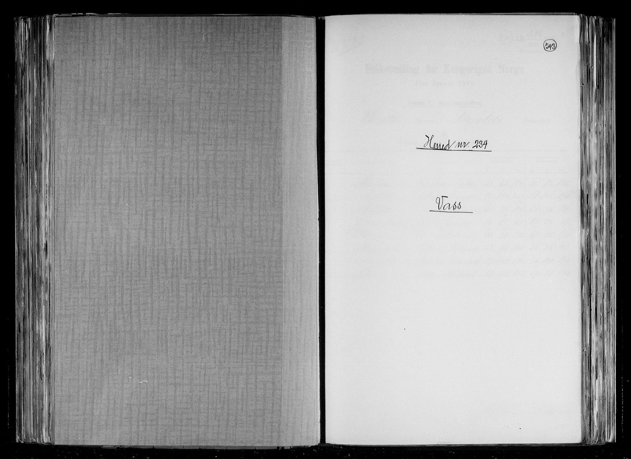 RA, Folketelling 1891 for 1155 Vats herred, 1891, s. 1