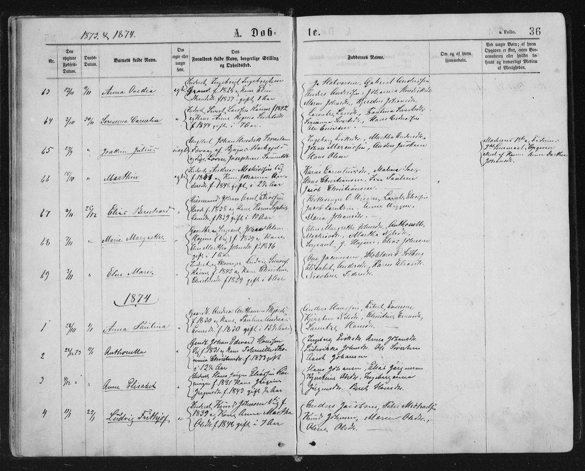SAT, Ministerialprotokoller, klokkerbøker og fødselsregistre - Sør-Trøndelag, 659/L0745: Klokkerbok nr. 659C02, 1869-1892, s. 36