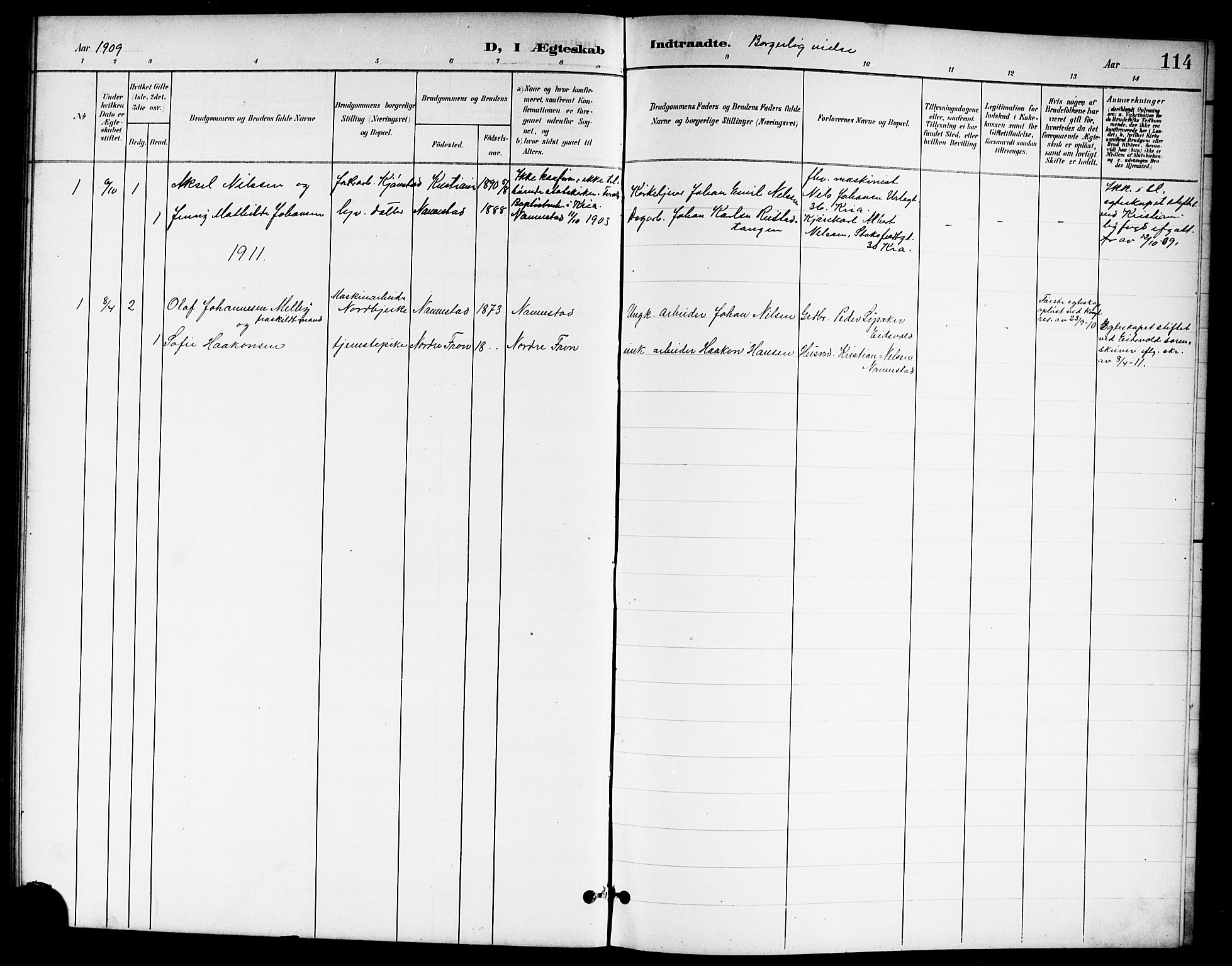 SAO, Nannestad prestekontor Kirkebøker, G/Ga/L0002: Klokkerbok nr. I 2, 1901-1913, s. 114