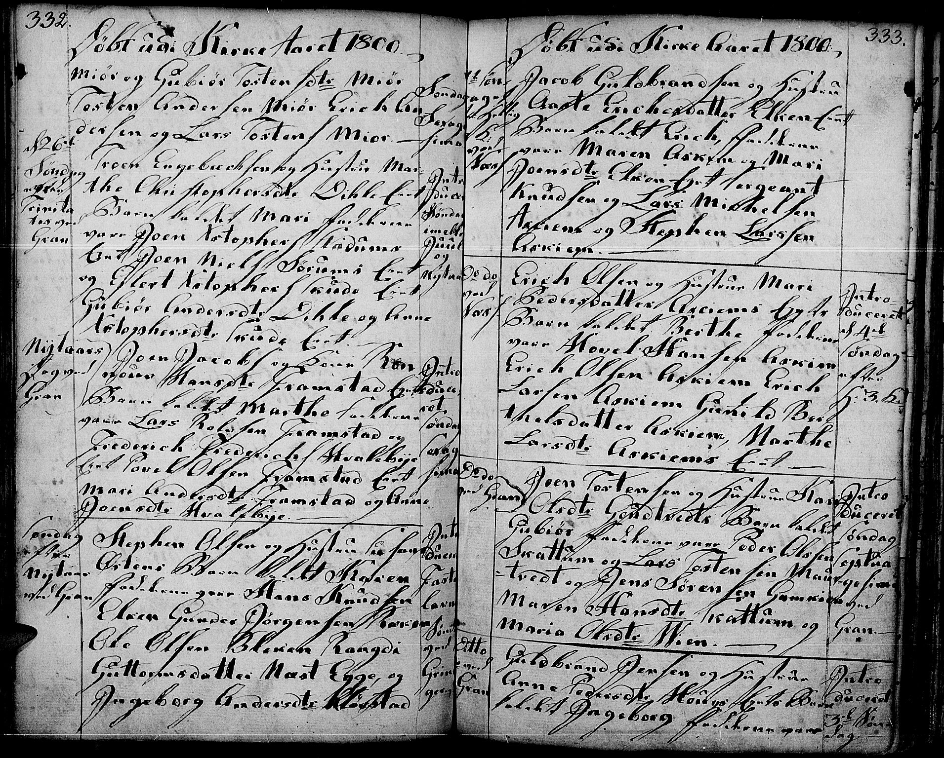 SAH, Gran prestekontor, Ministerialbok nr. 6, 1787-1824, s. 332-333