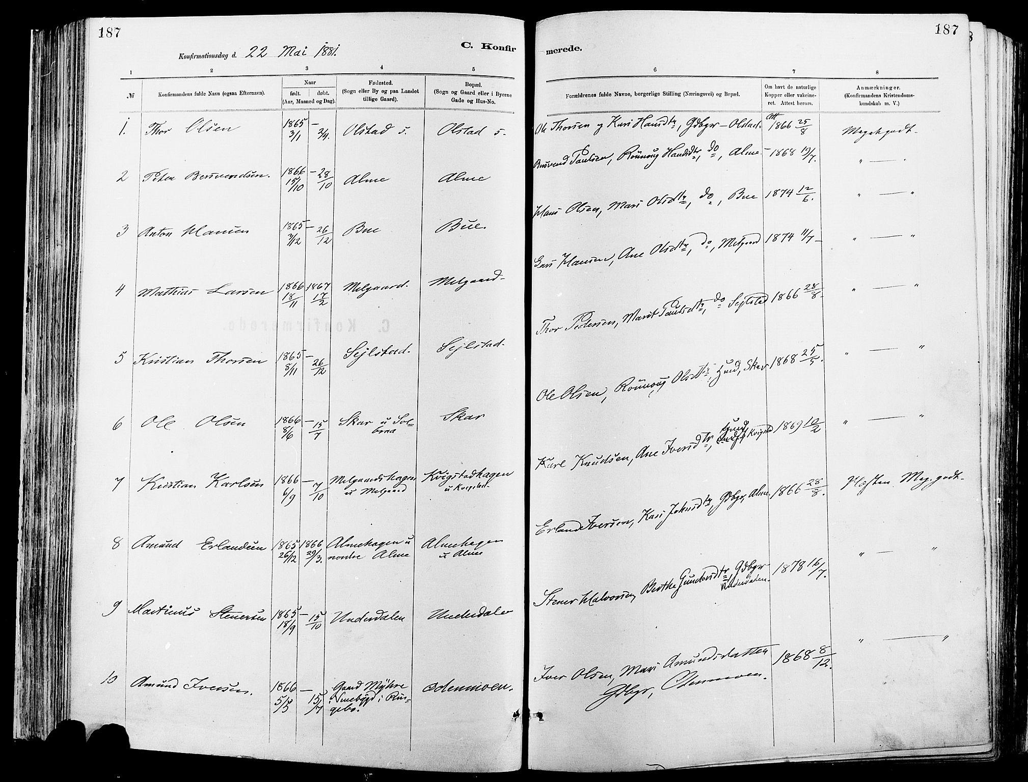 SAH, Sør-Fron prestekontor, H/Ha/Haa/L0003: Ministerialbok nr. 3, 1881-1897, s. 187