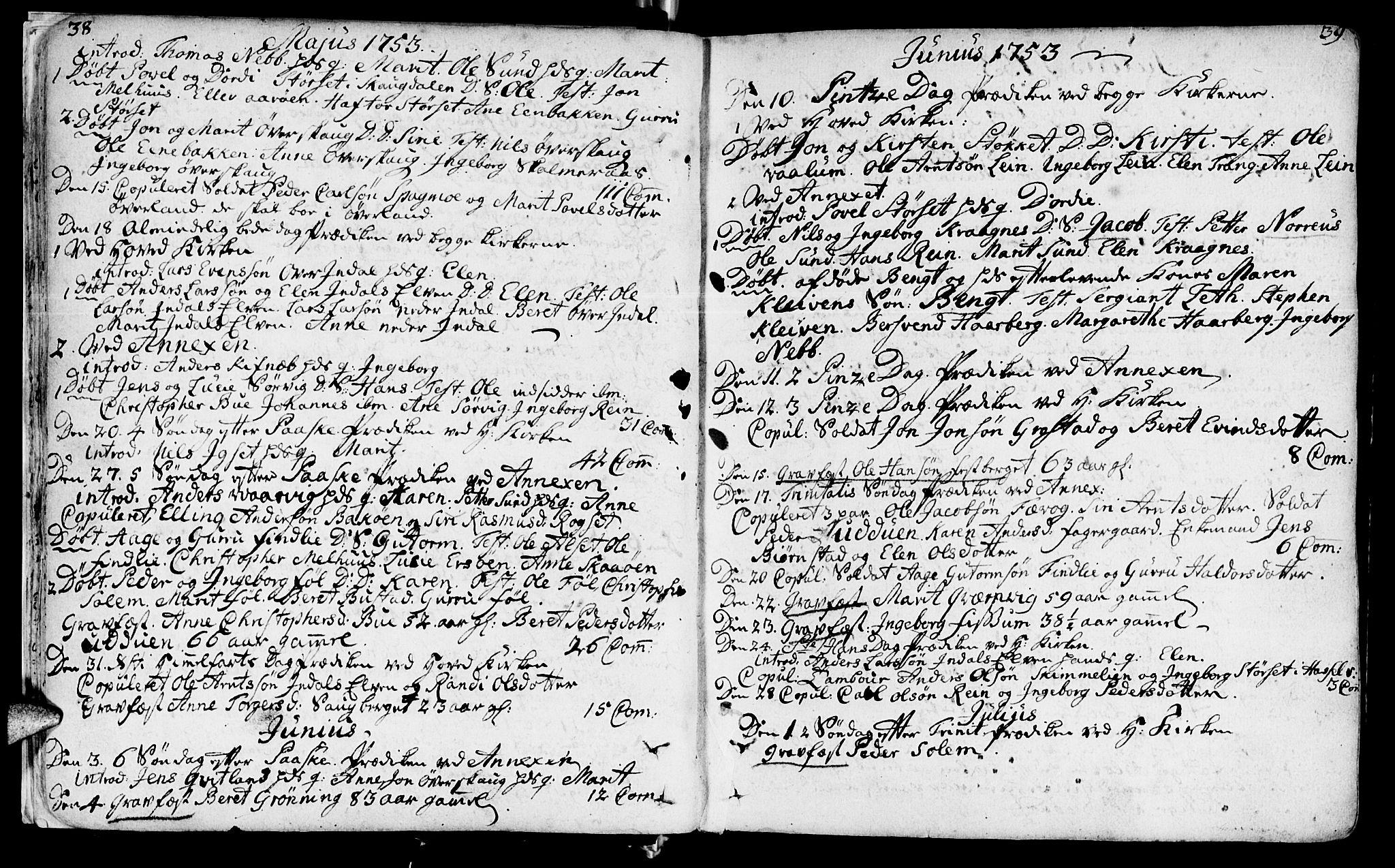 SAT, Ministerialprotokoller, klokkerbøker og fødselsregistre - Sør-Trøndelag, 646/L0605: Ministerialbok nr. 646A03, 1751-1790, s. 38-39