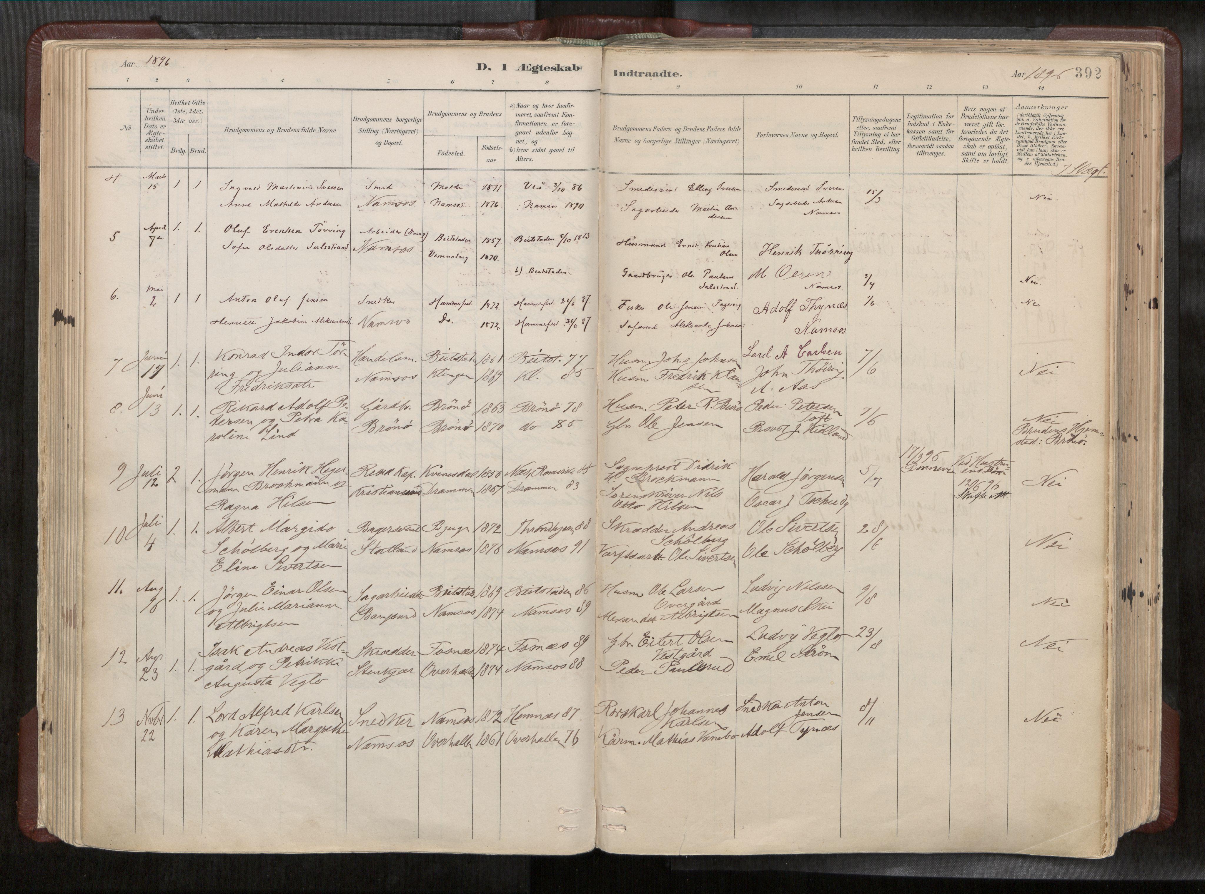 SAT, Ministerialprotokoller, klokkerbøker og fødselsregistre - Nord-Trøndelag, 768/L0579a: Ministerialbok nr. 768A14, 1887-1931, s. 392