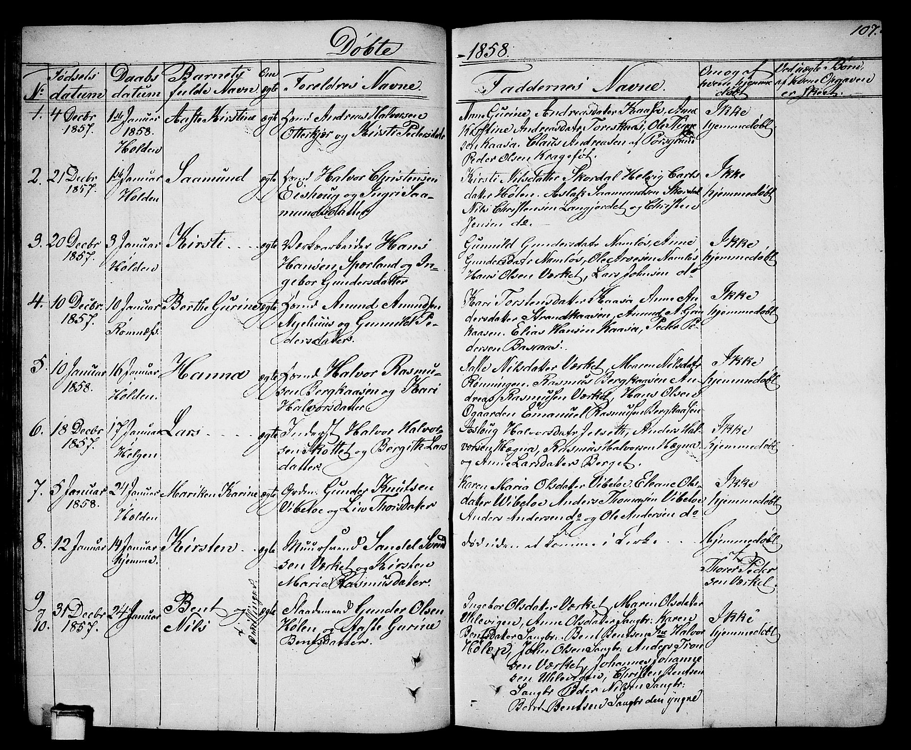 SAKO, Holla kirkebøker, G/Ga/L0003: Klokkerbok nr. I 3, 1849-1866, s. 107