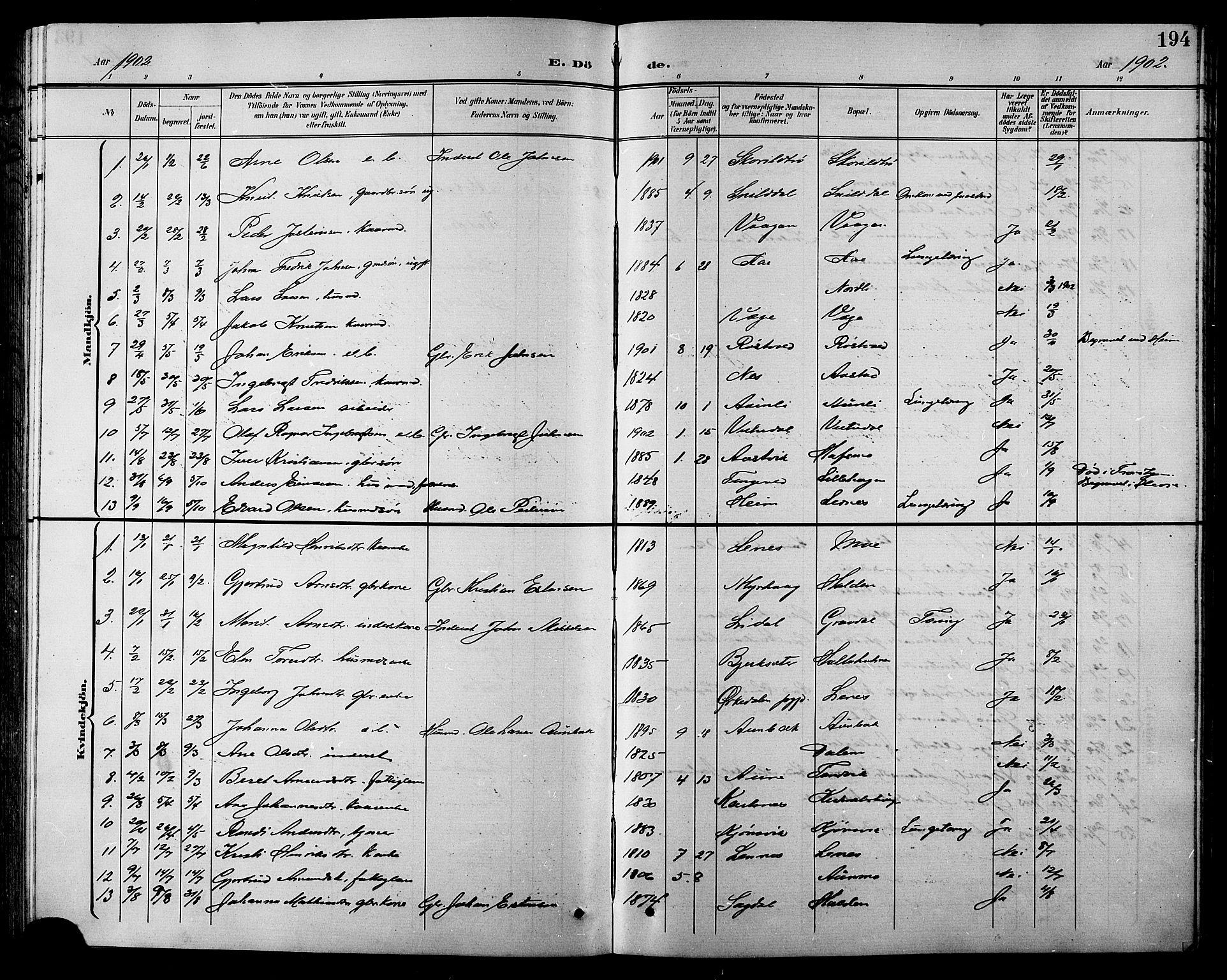 SAT, Ministerialprotokoller, klokkerbøker og fødselsregistre - Sør-Trøndelag, 630/L0505: Klokkerbok nr. 630C03, 1899-1914, s. 194