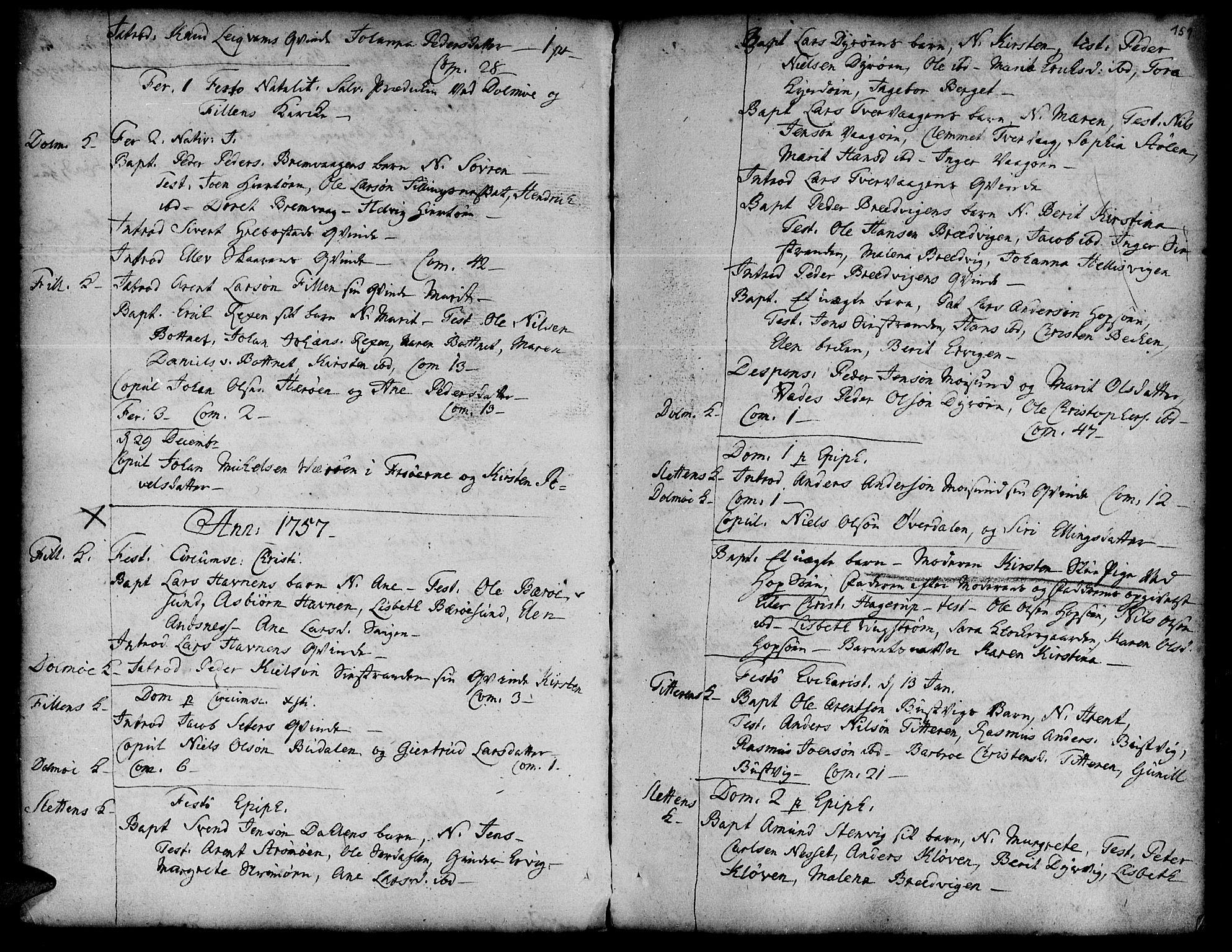 SAT, Ministerialprotokoller, klokkerbøker og fødselsregistre - Sør-Trøndelag, 634/L0525: Ministerialbok nr. 634A01, 1736-1775, s. 151
