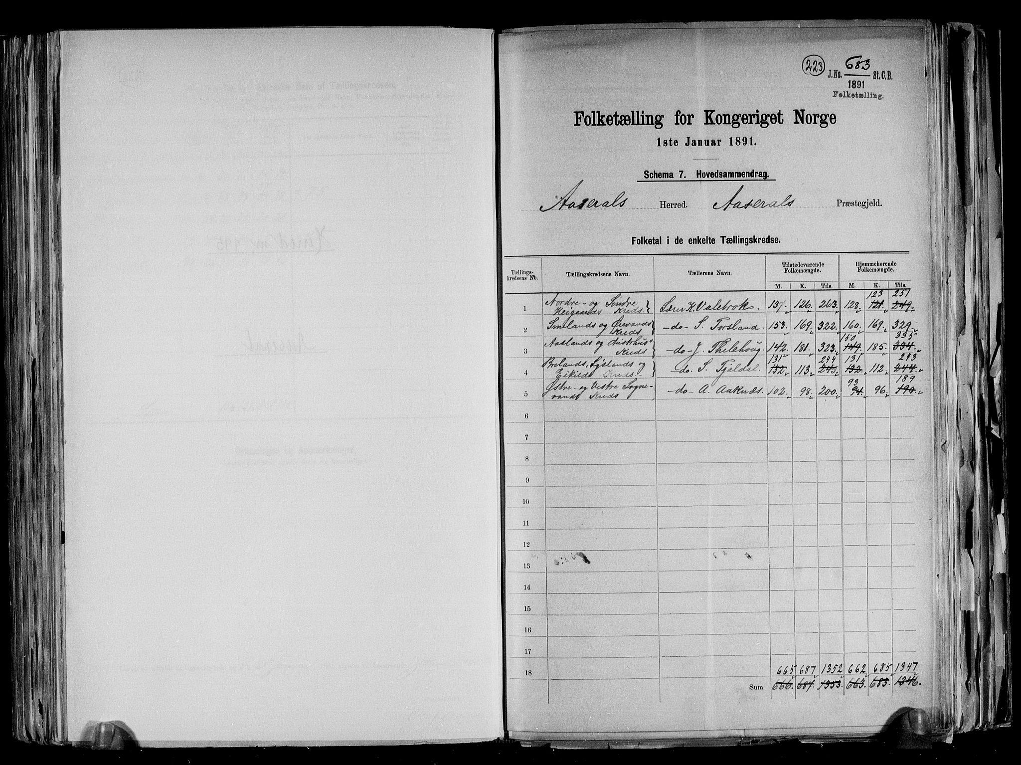 RA, Folketelling 1891 for 1026 Åseral herred, 1891, s. 2