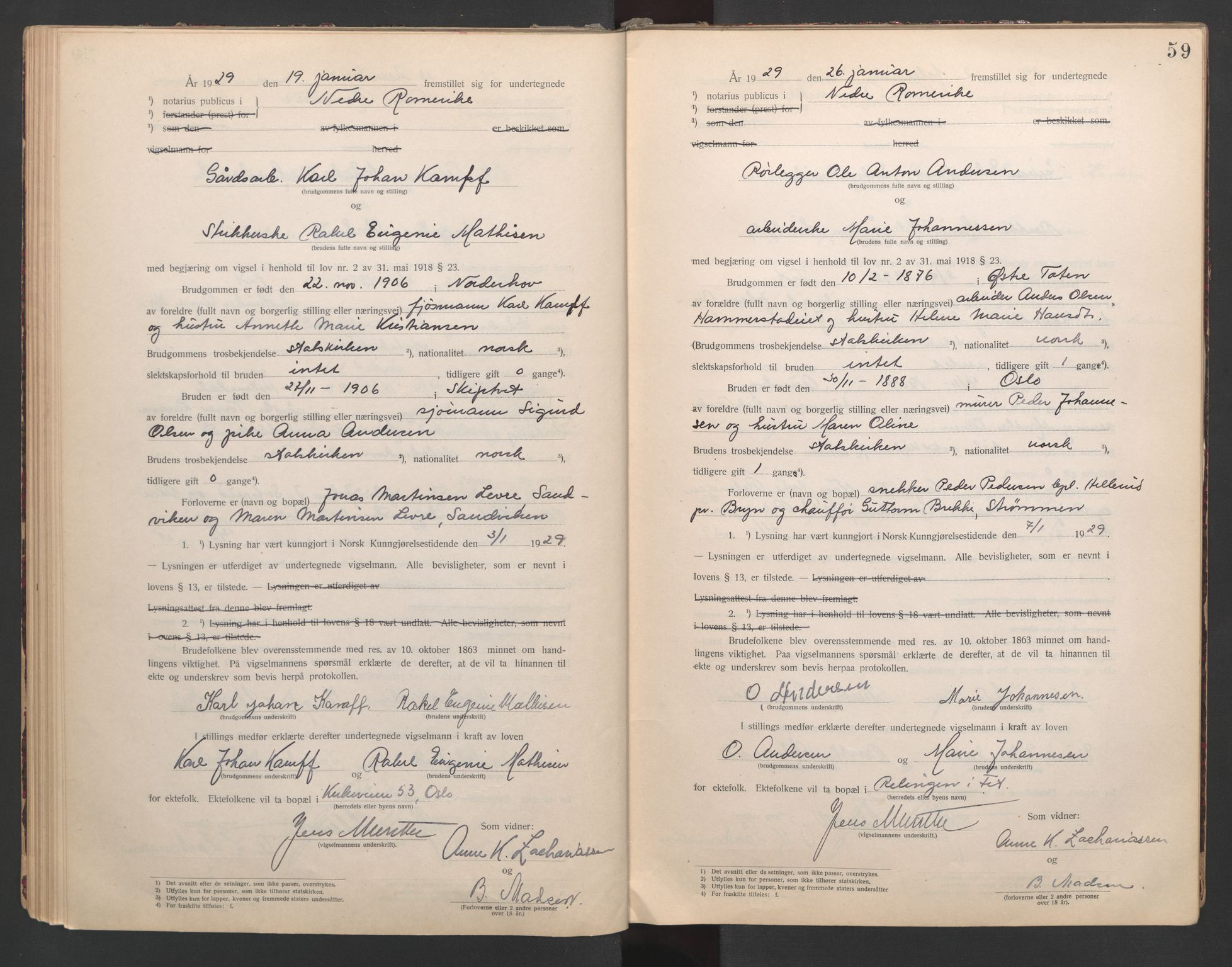 SAO, Nedre Romerike sorenskriveri, L/Lb/L0001: Vigselsbok - borgerlige vielser, 1920-1935, s. 59