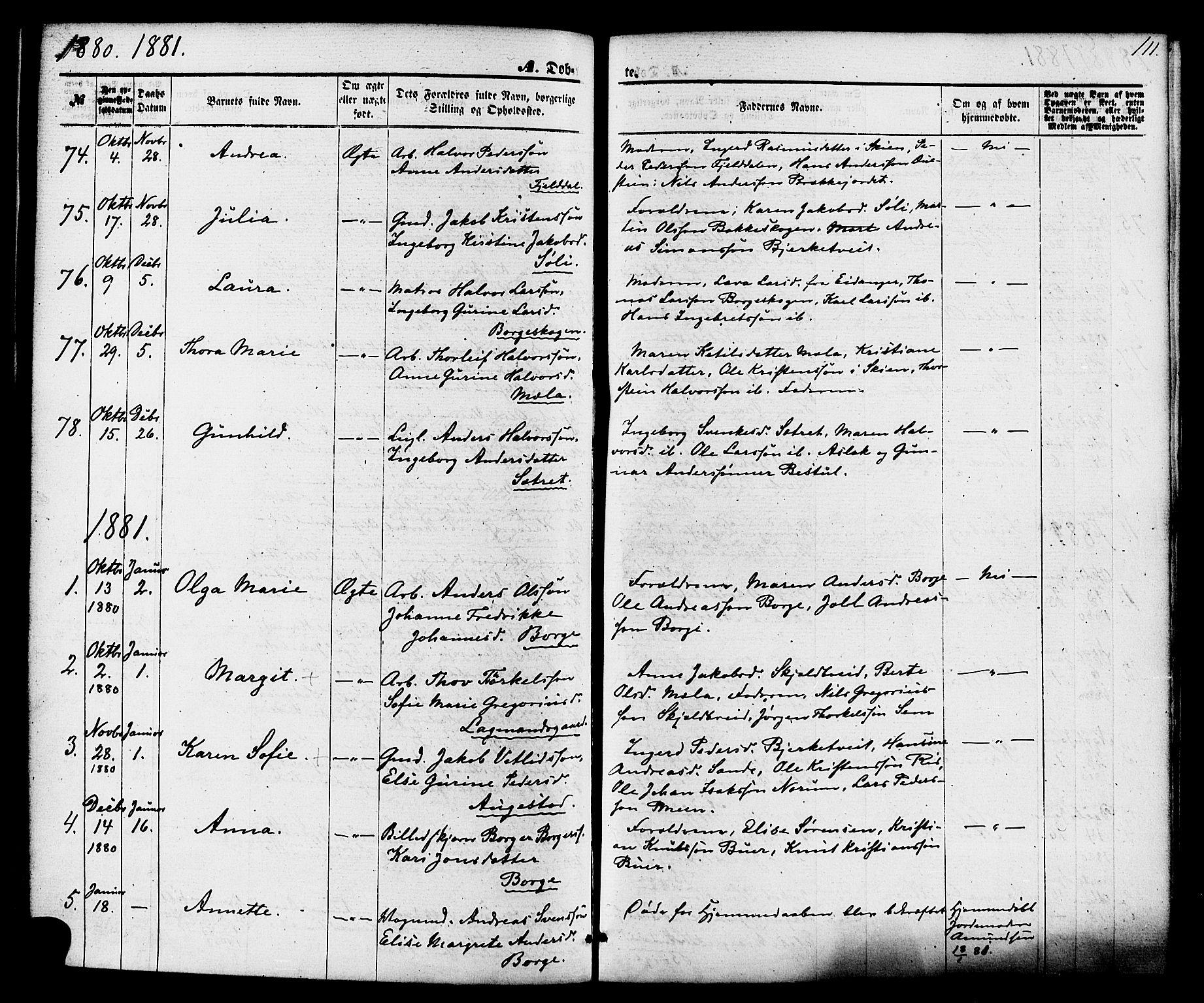 SAKO, Gjerpen kirkebøker, F/Fa/L0009: Ministerialbok nr. 9, 1872-1885, s. 111