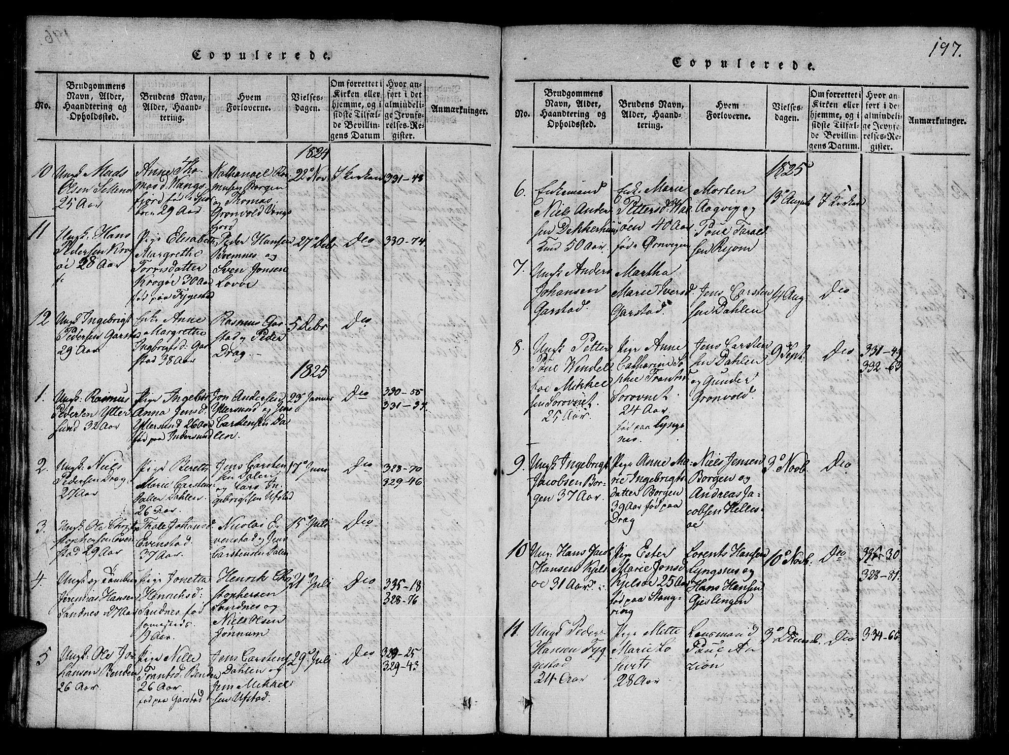 SAT, Ministerialprotokoller, klokkerbøker og fødselsregistre - Nord-Trøndelag, 784/L0667: Ministerialbok nr. 784A03 /1, 1816-1829, s. 197