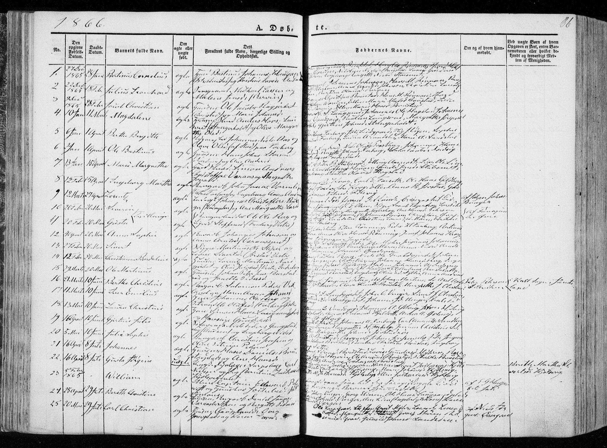 SAT, Ministerialprotokoller, klokkerbøker og fødselsregistre - Nord-Trøndelag, 722/L0218: Ministerialbok nr. 722A05, 1843-1868, s. 86