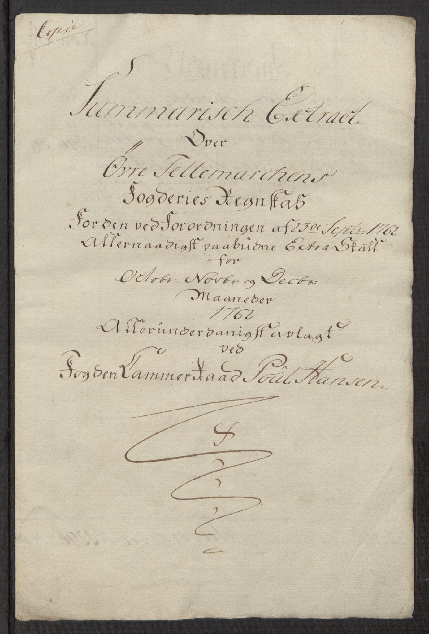 RA, Rentekammeret inntil 1814, Reviderte regnskaper, Fogderegnskap, R38/L2293: Ekstraskatten Øvre Telemark, 1762-1770, s. 10
