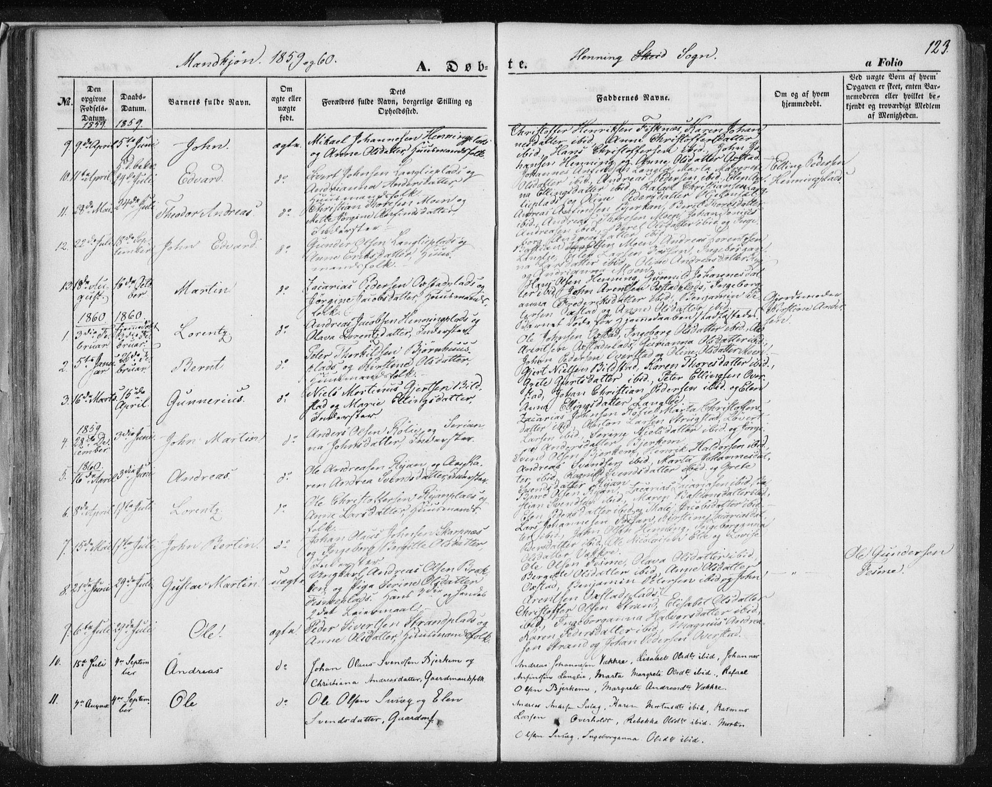 SAT, Ministerialprotokoller, klokkerbøker og fødselsregistre - Nord-Trøndelag, 735/L0342: Ministerialbok nr. 735A07 /3, 1849-1862, s. 123