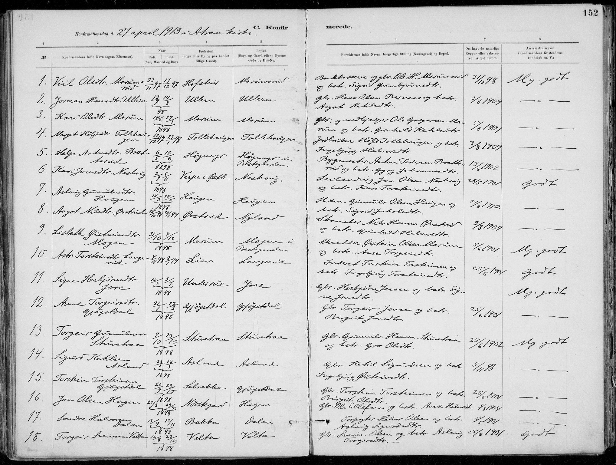 SAKO, Tinn kirkebøker, F/Fa/L0007: Ministerialbok nr. I 7, 1878-1922, s. 152